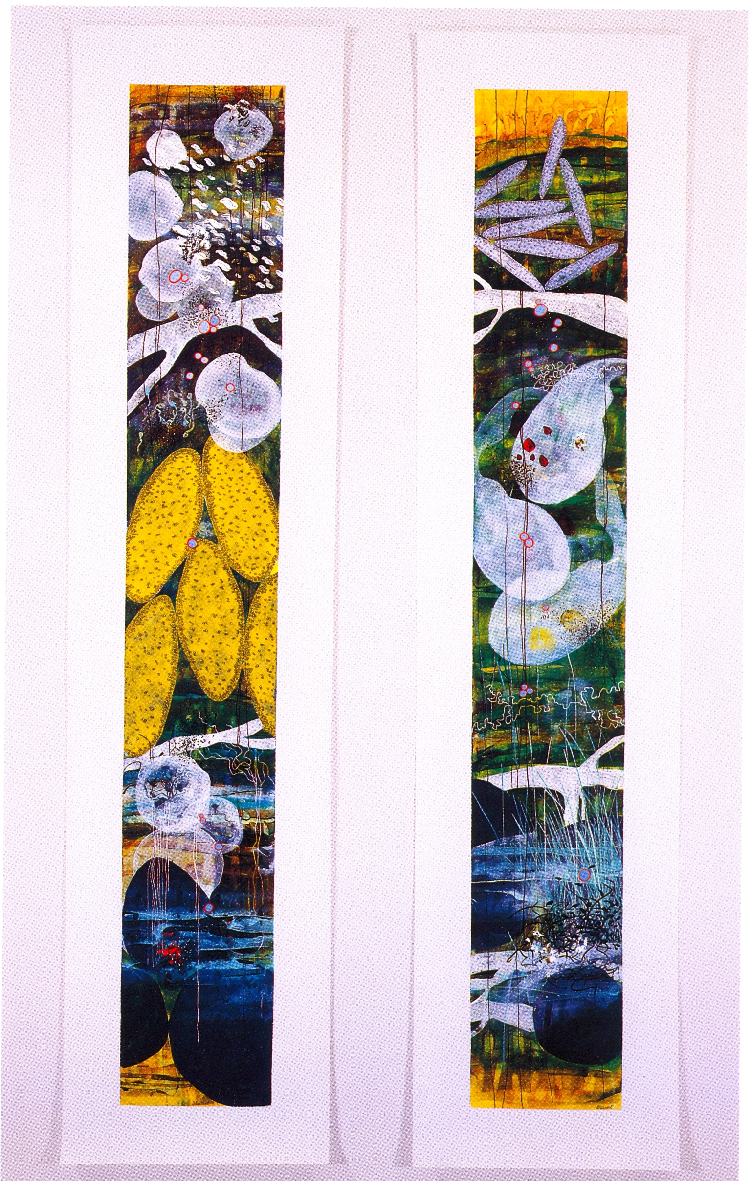 """Betsy Stewart,   River Scroll #1   (Left),   River Scroll #2   (Right), 2002, Acrylic and Sumi Ink on canvas, 78"""" x 18"""" (Each Panel)"""