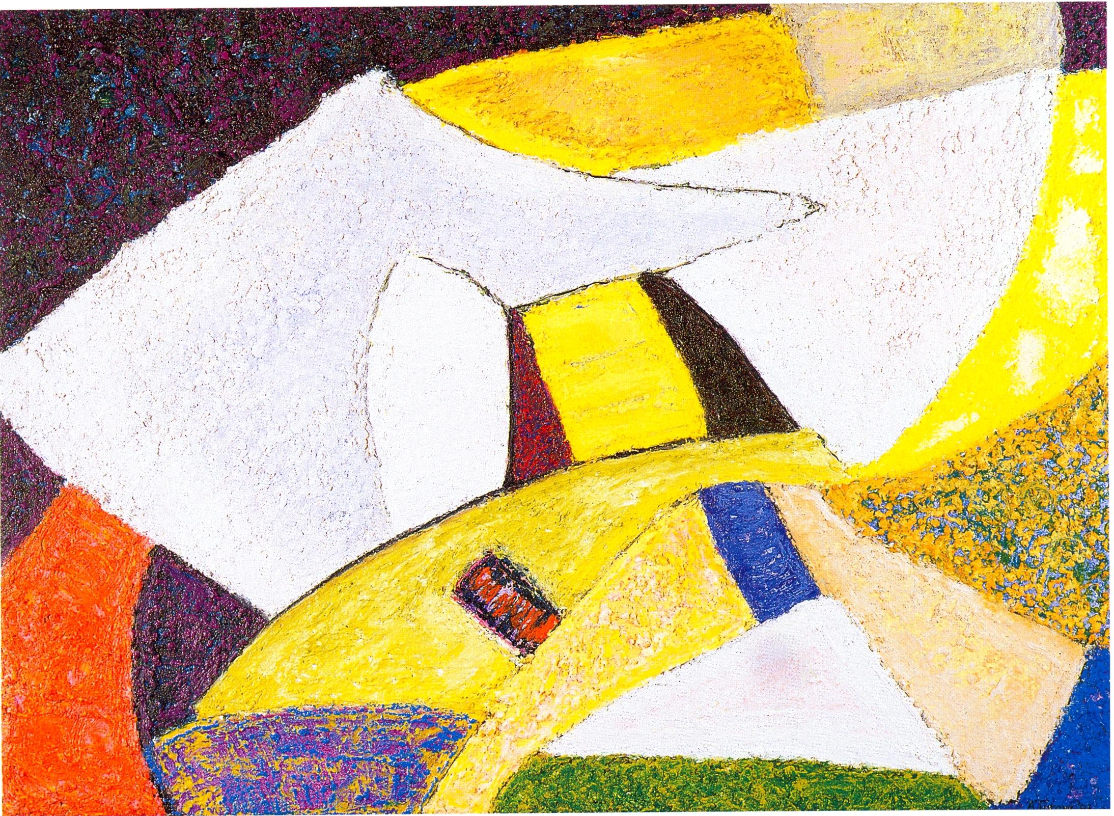 "Annette Turow,   Moonlit,   2002, Acrylic, Gels, Oil Stick on canvas, 22"" x 30"""