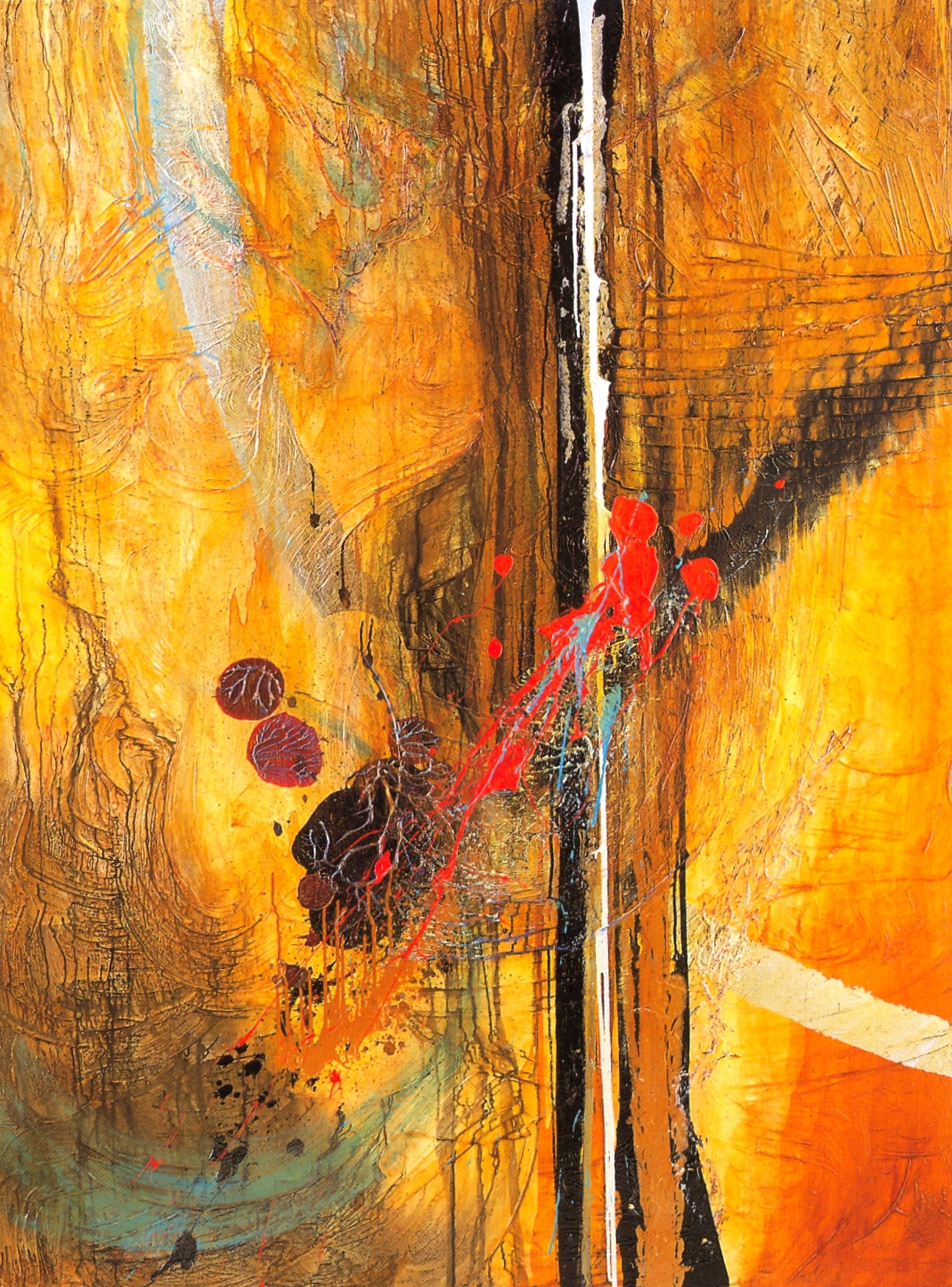 "Lawrence Abrahamsen,   Gurupurnima 1998,   2001, Oil, Acrylic, Metal Powders, Leaf & Resins on Canvas, 54"" x 96"""