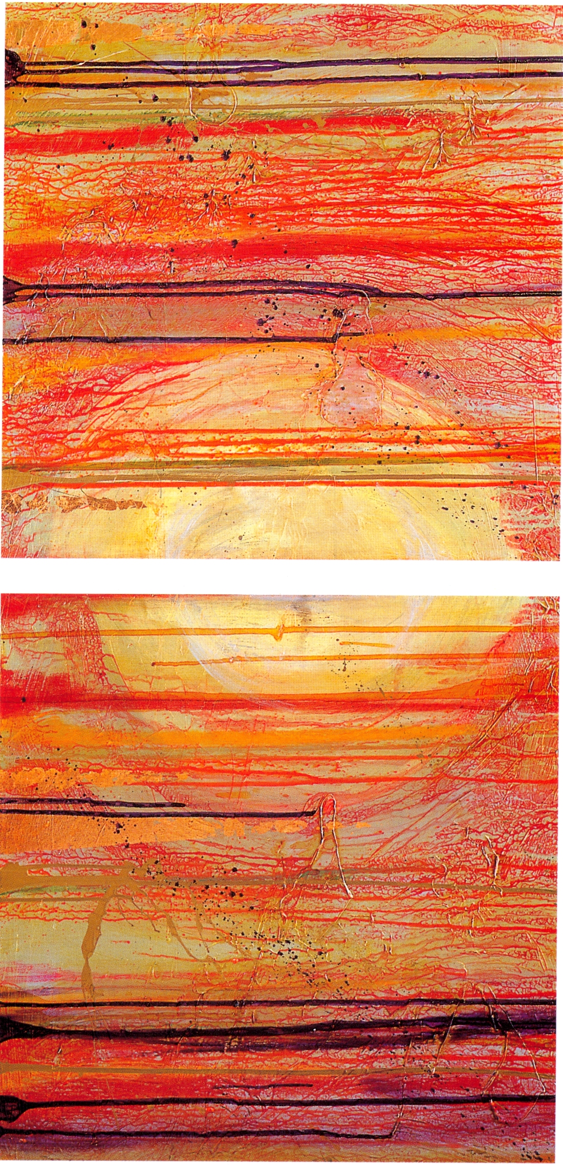 "Lawrence Abrahamsen,   Gurumay I,   1997, Oil, Acrylic, Metal Powders & Leaf on Canvas, Dyptich 48"" x 24"""