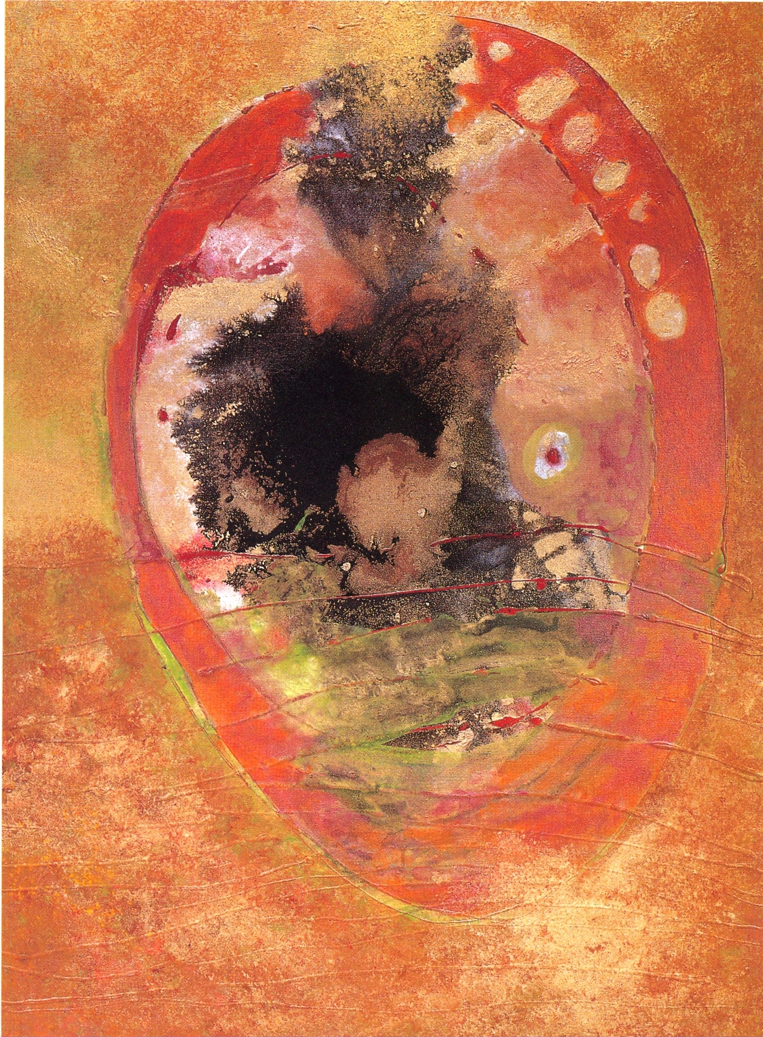 "Fran Bull,   Sun in Earth,   2002, Acrylic & Mixed Media on Canvas, 48 1/4"" x 36"""