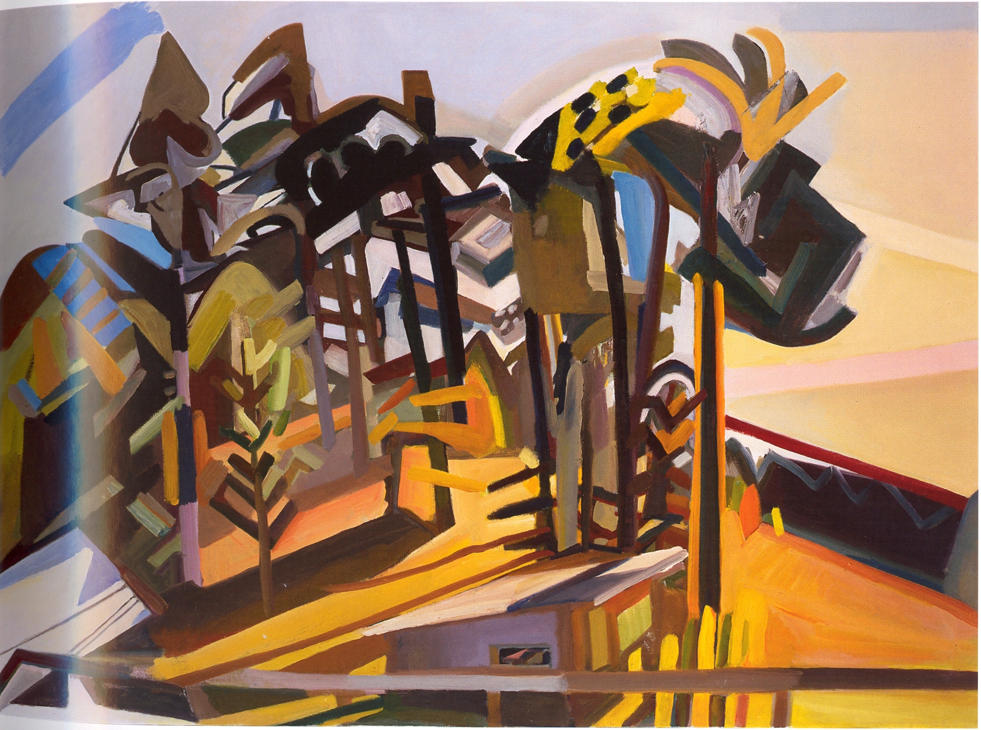 """Up the Hill,   2002, Oil on canvas, 42"""" x 58"""""""