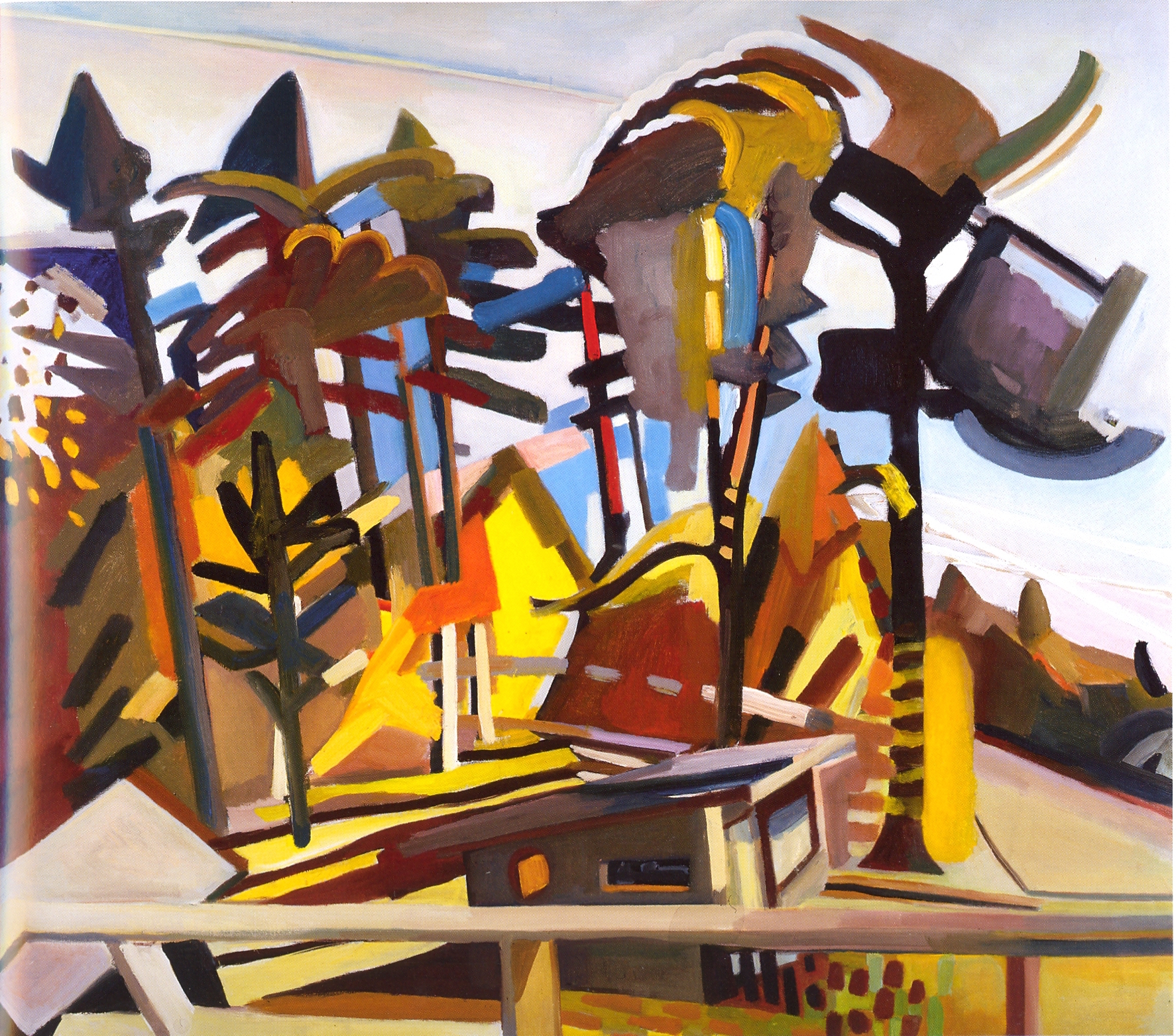 """Off the Roof,   2002, Oil on canvas, 41"""" x 47"""""""