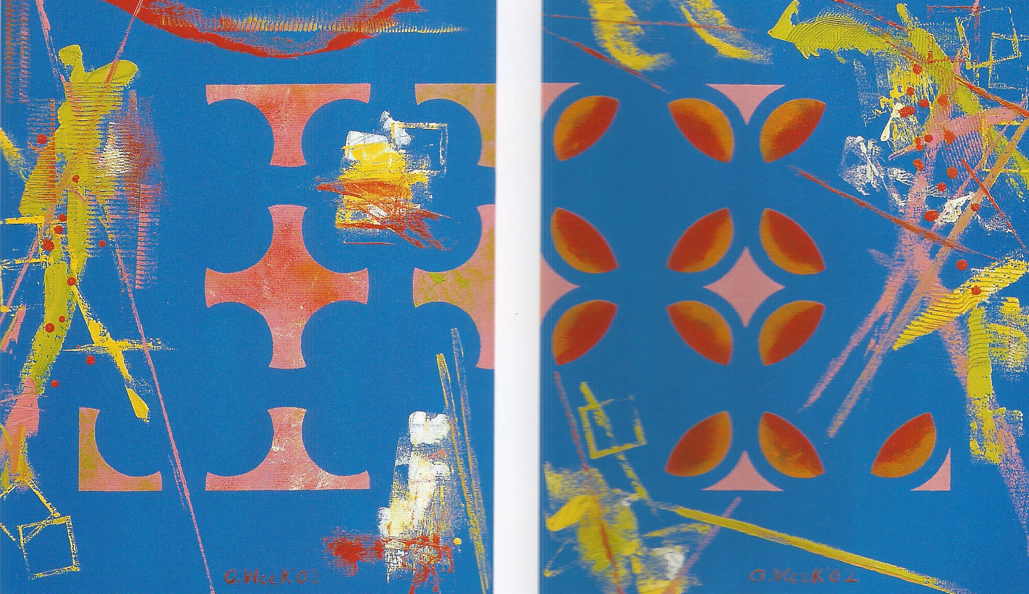 """Cutouts of Circle on Blue,   2002, Oil on canvas, 24"""" x 40"""""""
