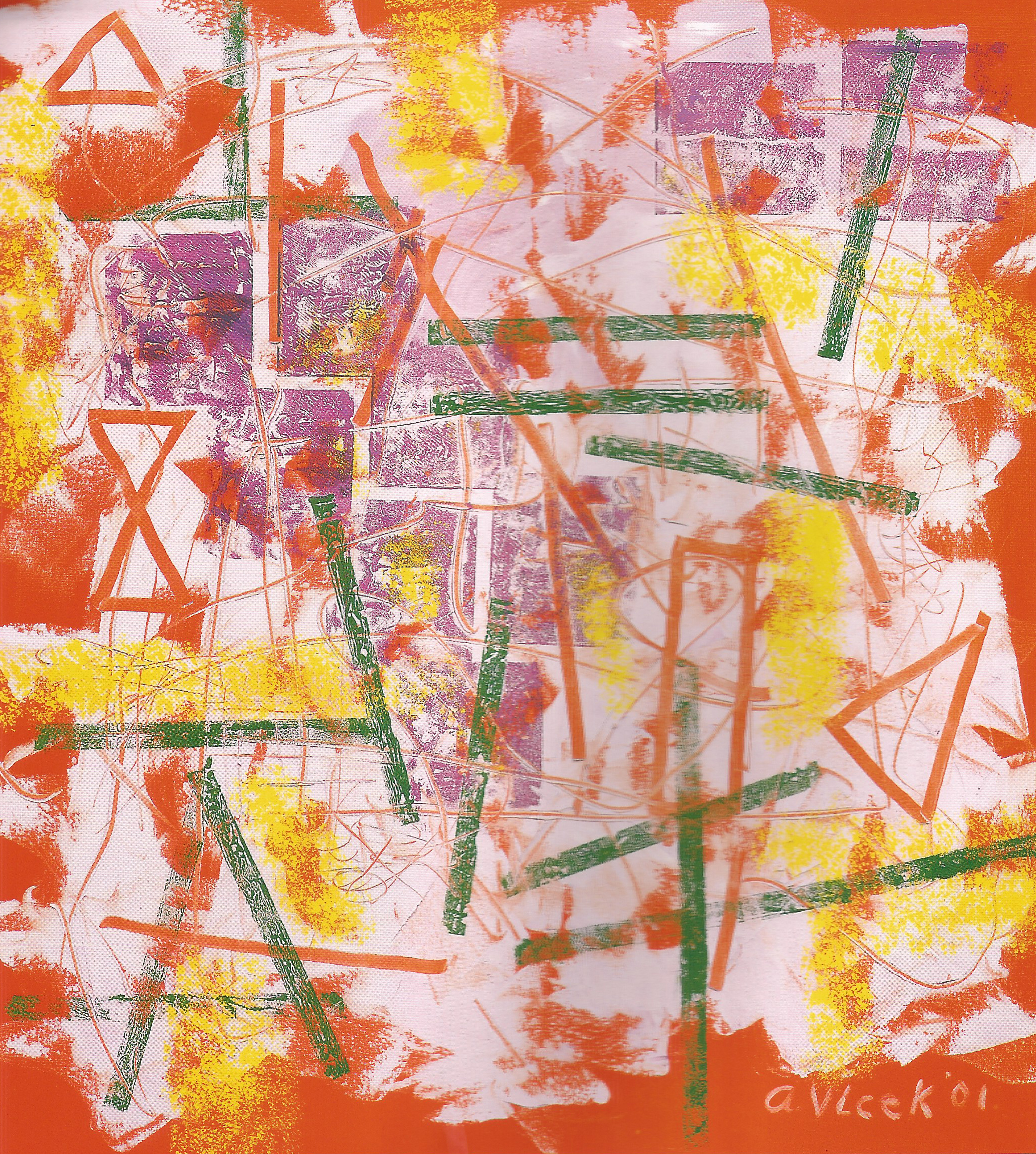 "Green Bars on Purple,   2001, Oil on canvas, 42"" x 40"""