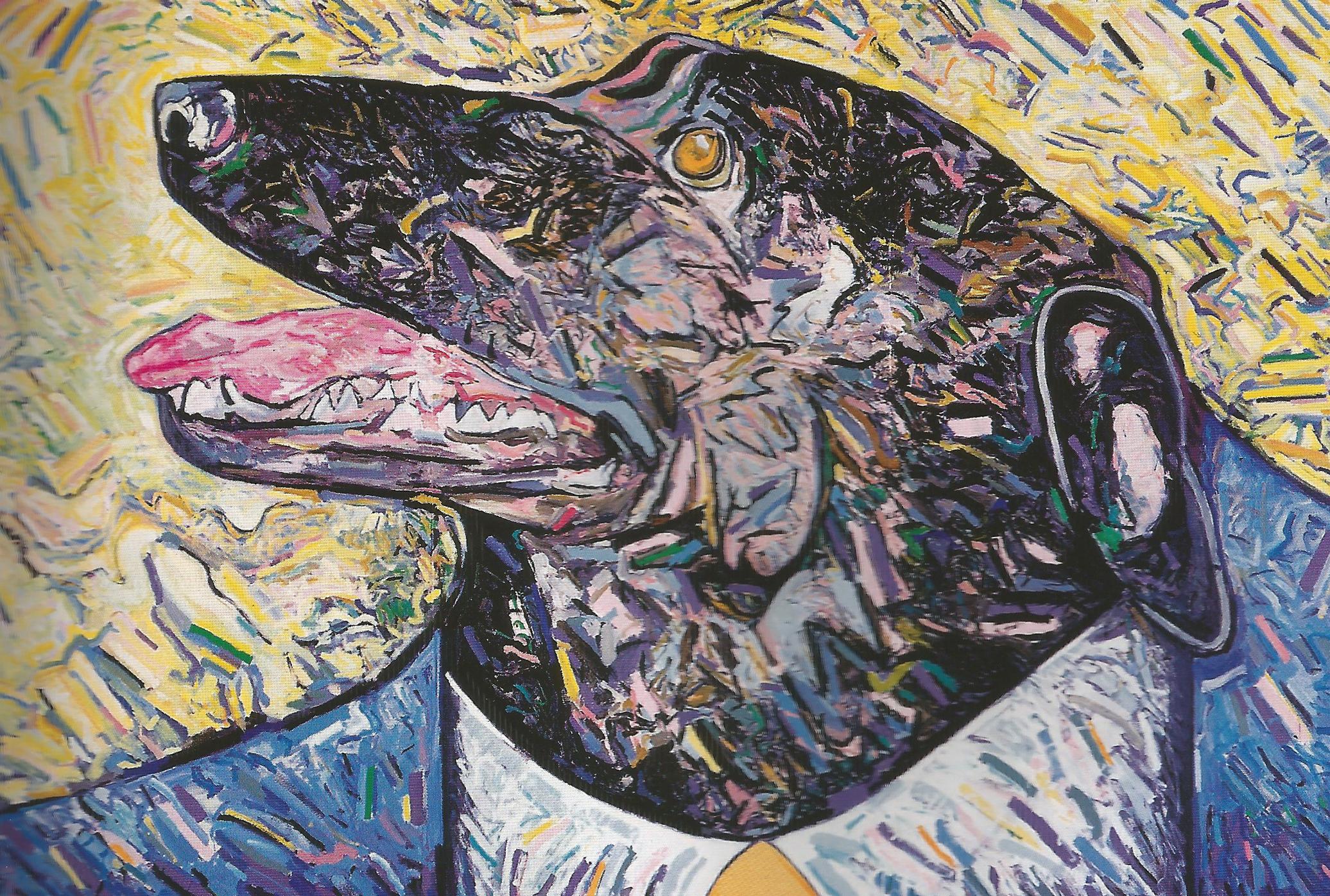 """Dog Man (""""buddy""""),   2001, Oil, Collage, Enamel, 96"""" x 144"""""""