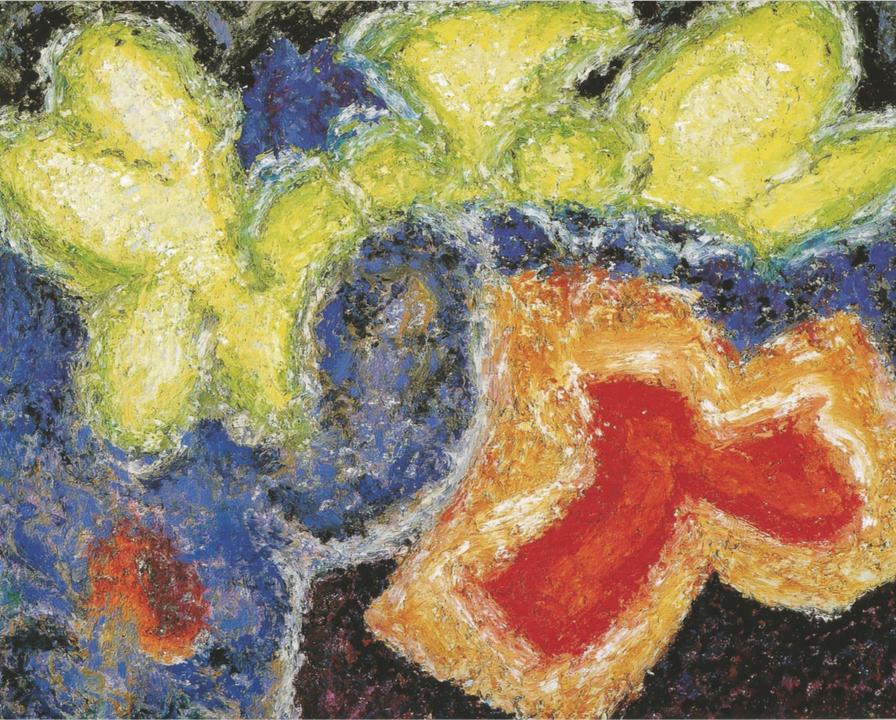 """Vigil: Morning Aura #3,  Acrylic, gels, oil stick on gesso board, 12"""" x 16"""", 2000"""