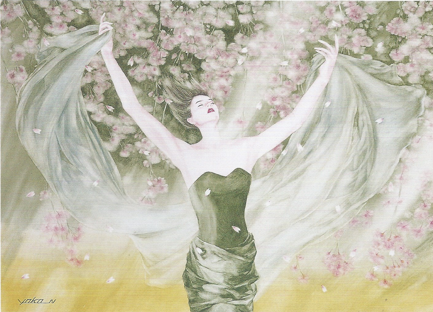 "Yoko Nakagawa: Shower of Cherry Blossoms,  Watercolor on paper, 20.8"" x 28.4"", 2001"