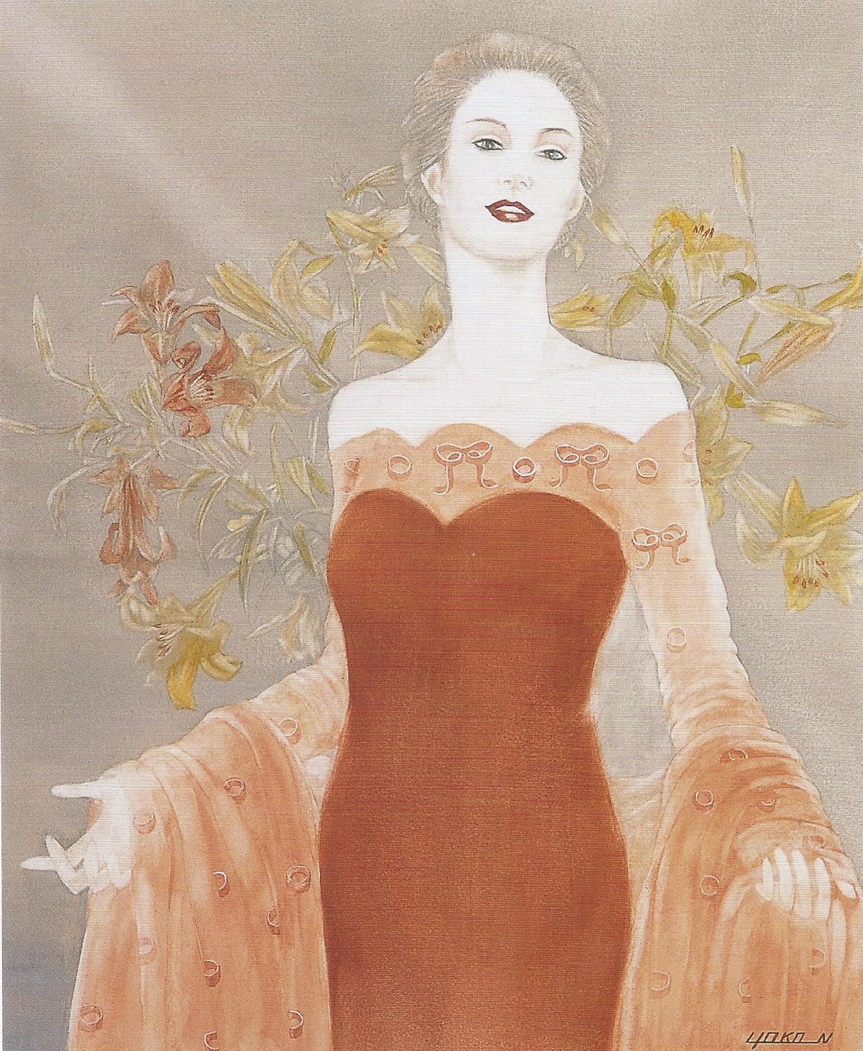 "Yoko Nakagawa: You are Welcome,  Watercolor on paper, 20.4"" x 17.4"", 2001"