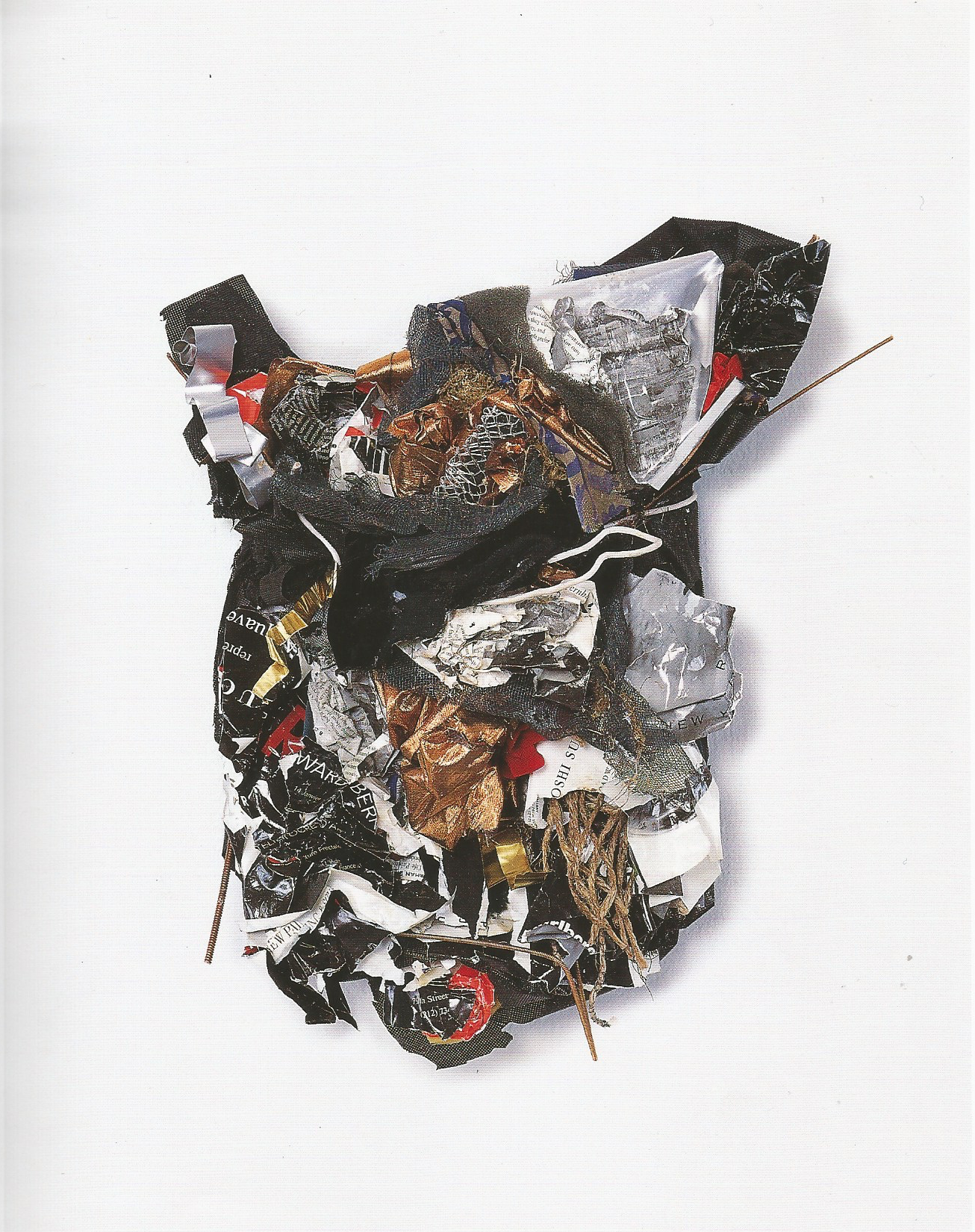 "Re née Lerner: Torso W/rods   ,  Fabric, paper, wire, mesh, metal, hemp, copper rpds on wood, 20"" x 18"" x 5'', 2001"