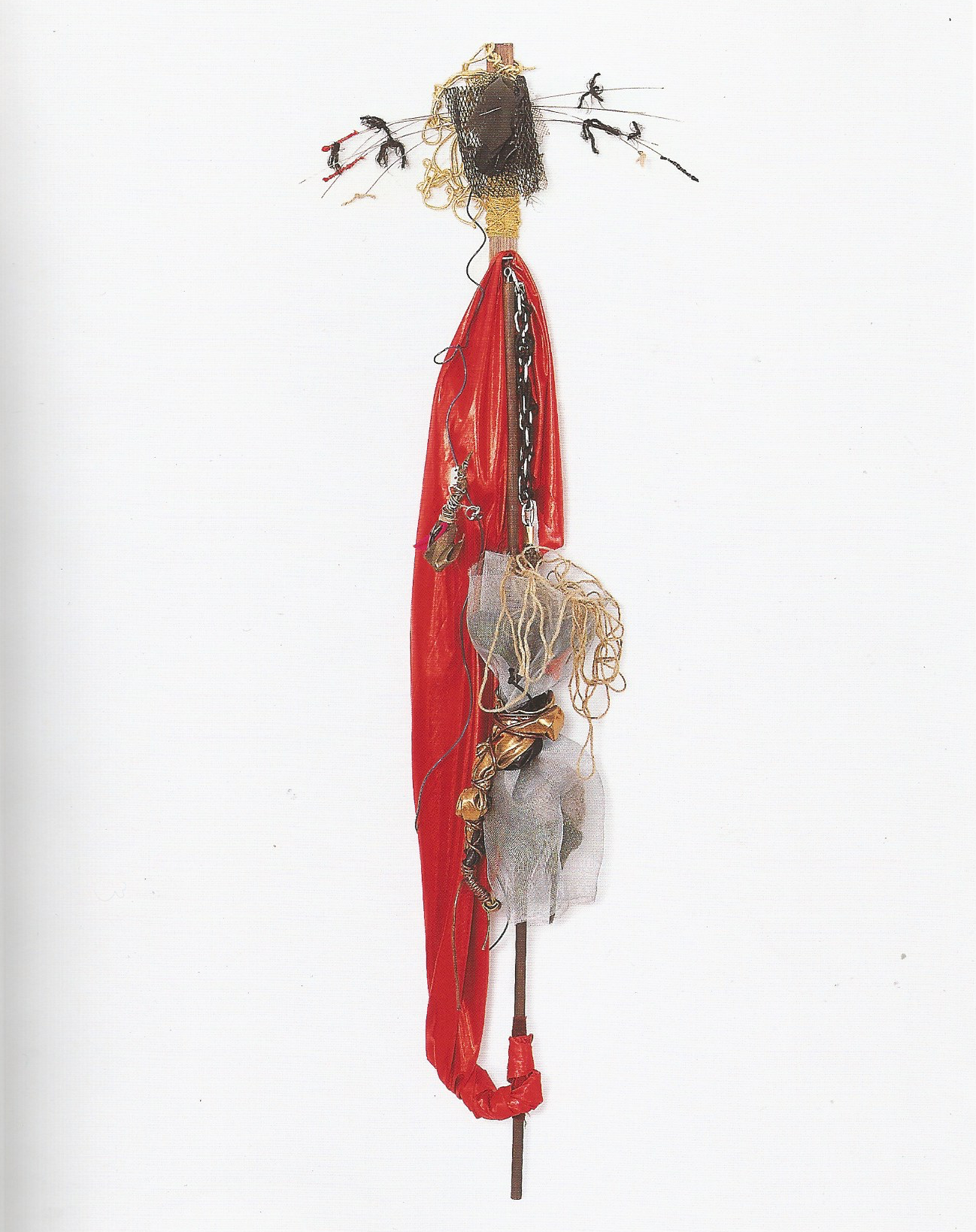 """Re née Lerner: Ruby-robed Woman   ,  Fabric, mesh, hemp, chain, cord, sponge, wires on wood,66"""" x 25""""x 8'', 2001"""