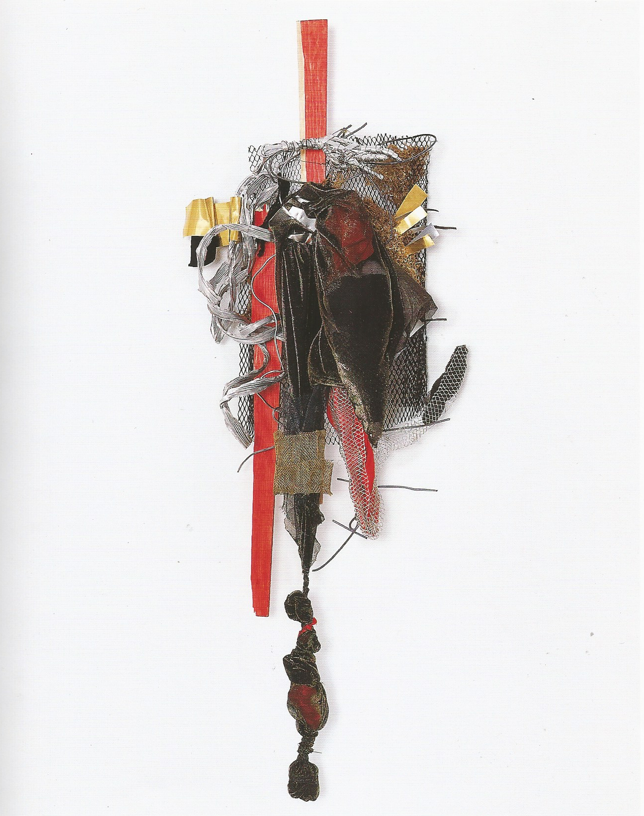 """Re née Lerner: Chimera   ,  Fabric, copper & aluminum coil, bunting on mesh, 47"""" x 18""""x 10.5'', 2001"""