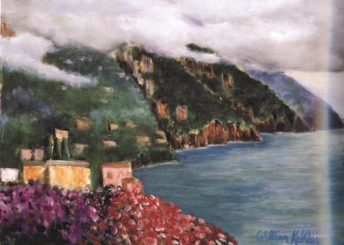 """Vista Casa d'Elissa Positano    24""""x32"""", Oil on canvas, 2004"""