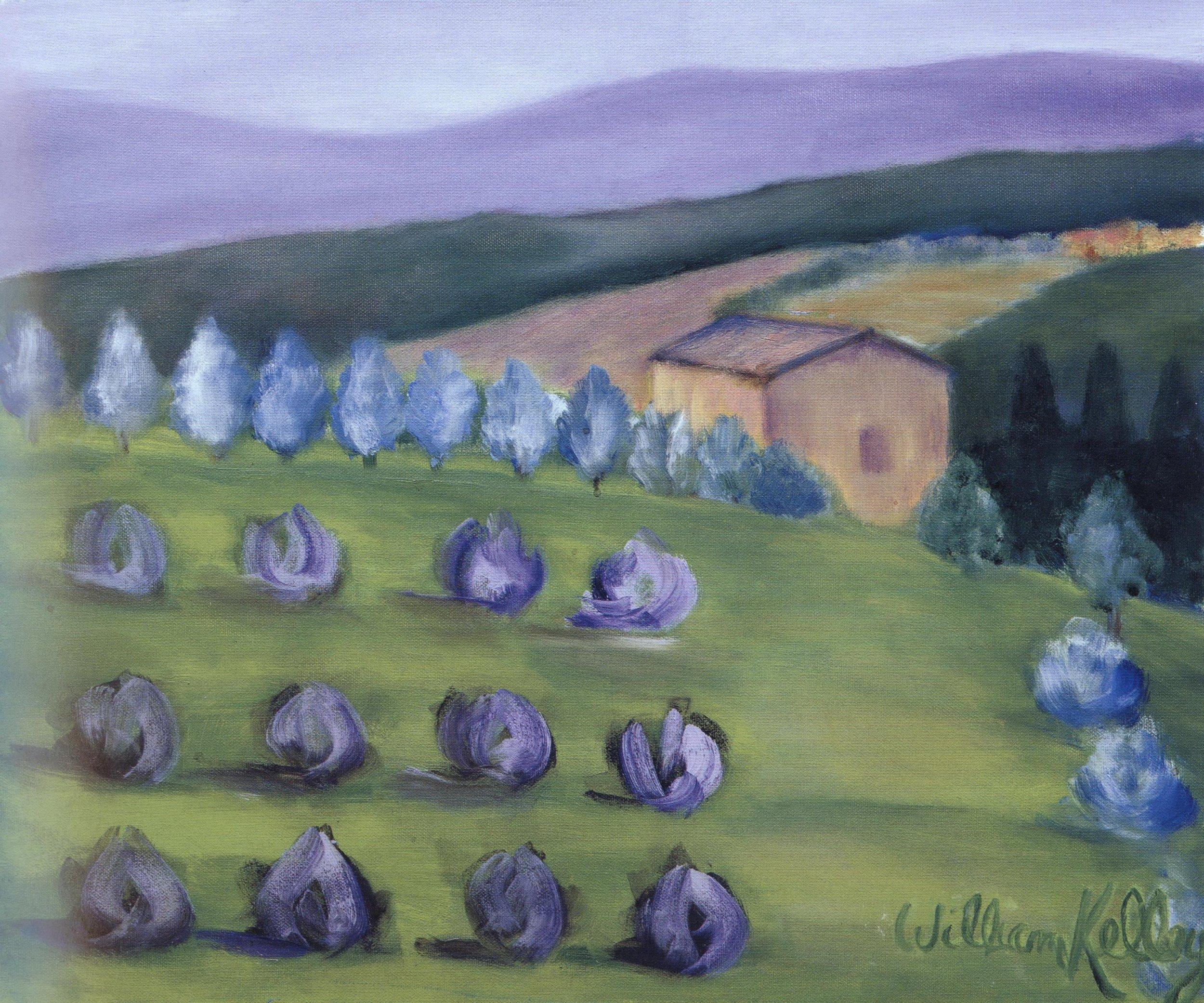 """Il Paesaggio Viola, Chianti     20""""X24"""", Oil on canvas, 2004"""