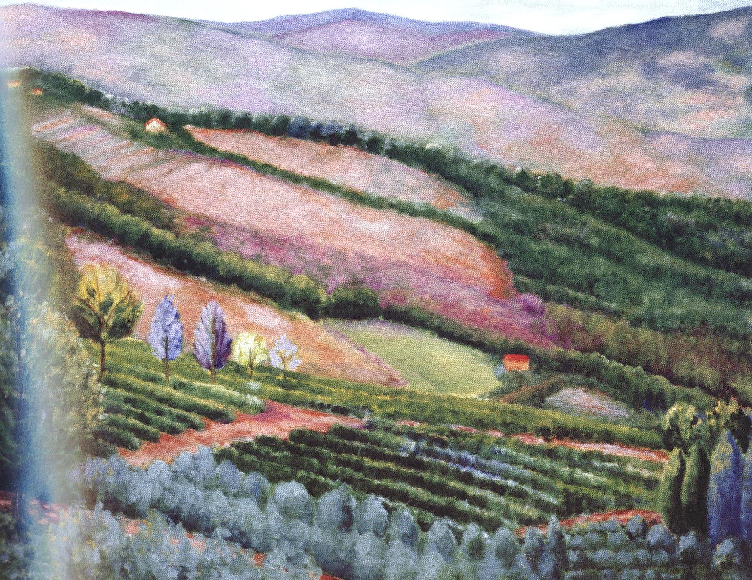 """Panzano Valley, Chianti    62""""x78"""", Oil on canvas, 2004"""