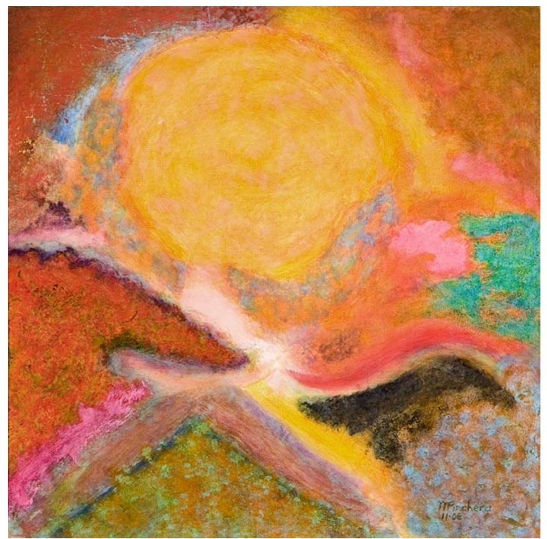 "Michael Pinchera    Birthing,   acrylic on board, 24"" x 24"", 2007"