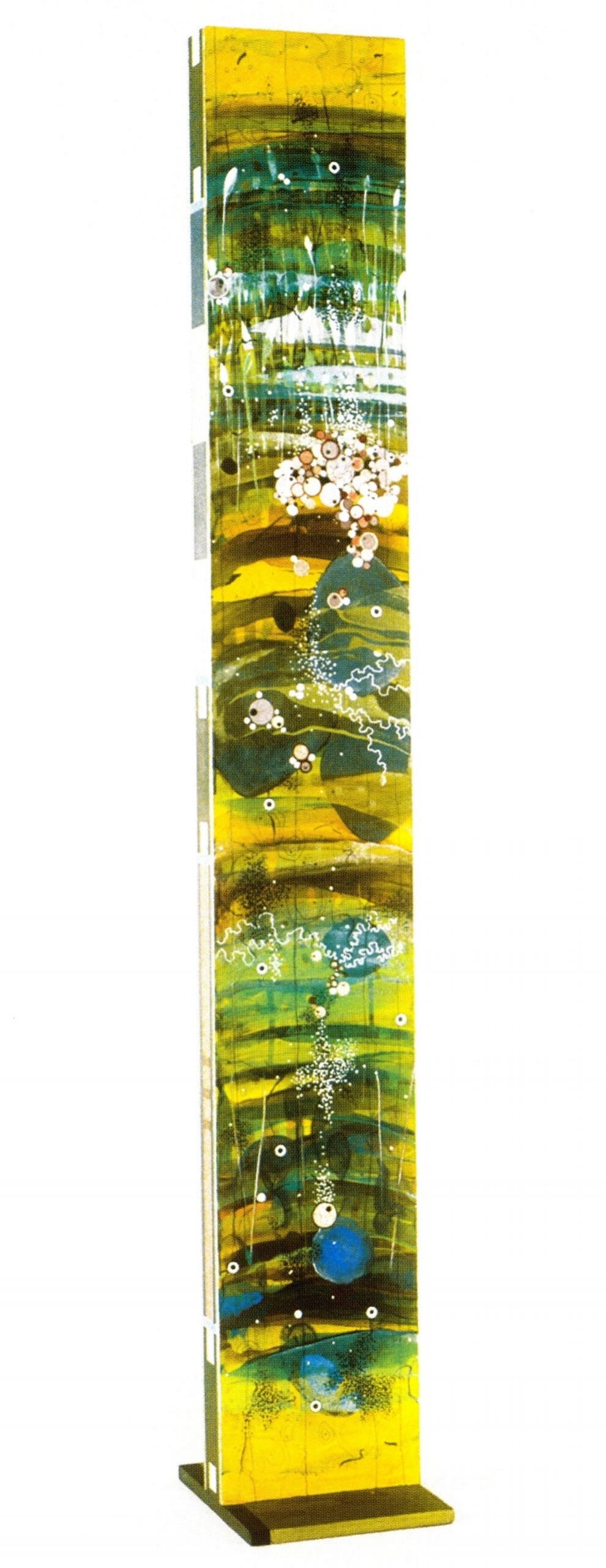 "Betsy Stewart    Aquatilis#1 side 2, 2004 .  Acrylic and sumi ink on wood, 70""x10""3"""