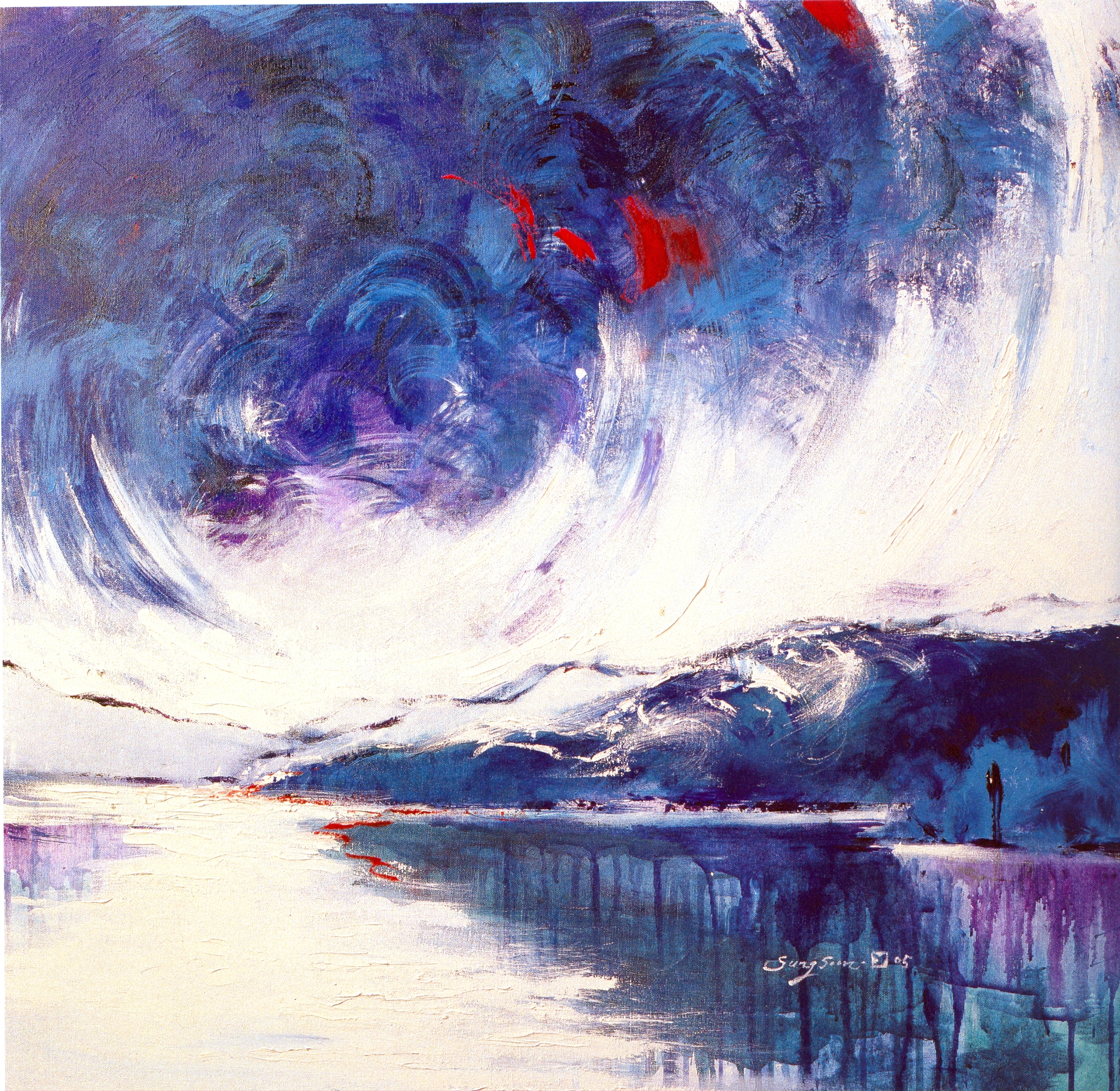 """Sung-Soon Yang    I Want to Go There,   acrylic on canvas, 30"""" x 30"""", 2005"""