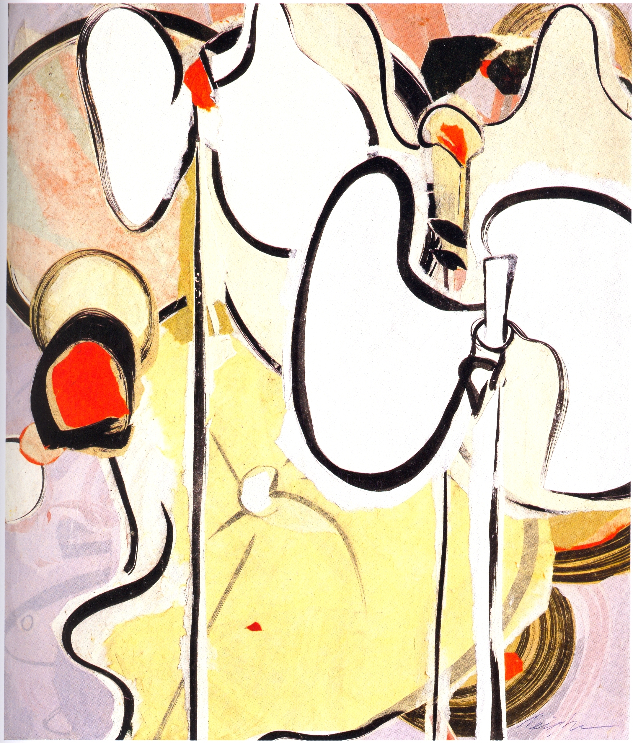 "Meighen Jackson    Amaryllis,   collage on linen, 22"" x 26"", 2005"