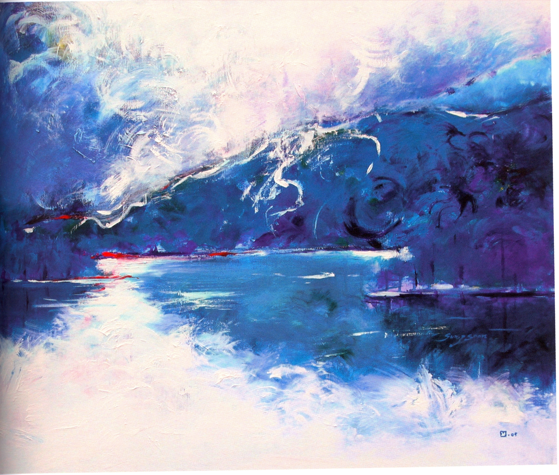 "Sung-Soon Yang    Morning Walk,   acrylic on canvas, 30"" x 36"", 2005"
