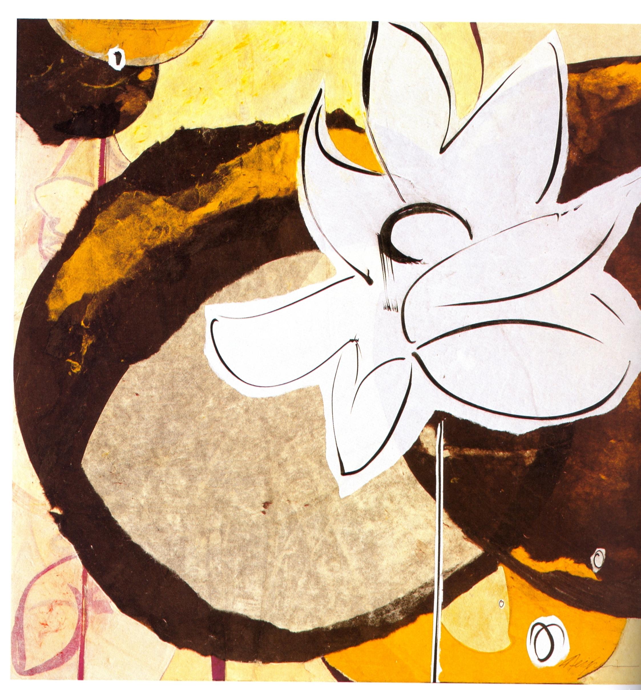 """Meighen Jackson    Purple Pond,   collage on canvas, 30"""" x 30"""", 2005"""