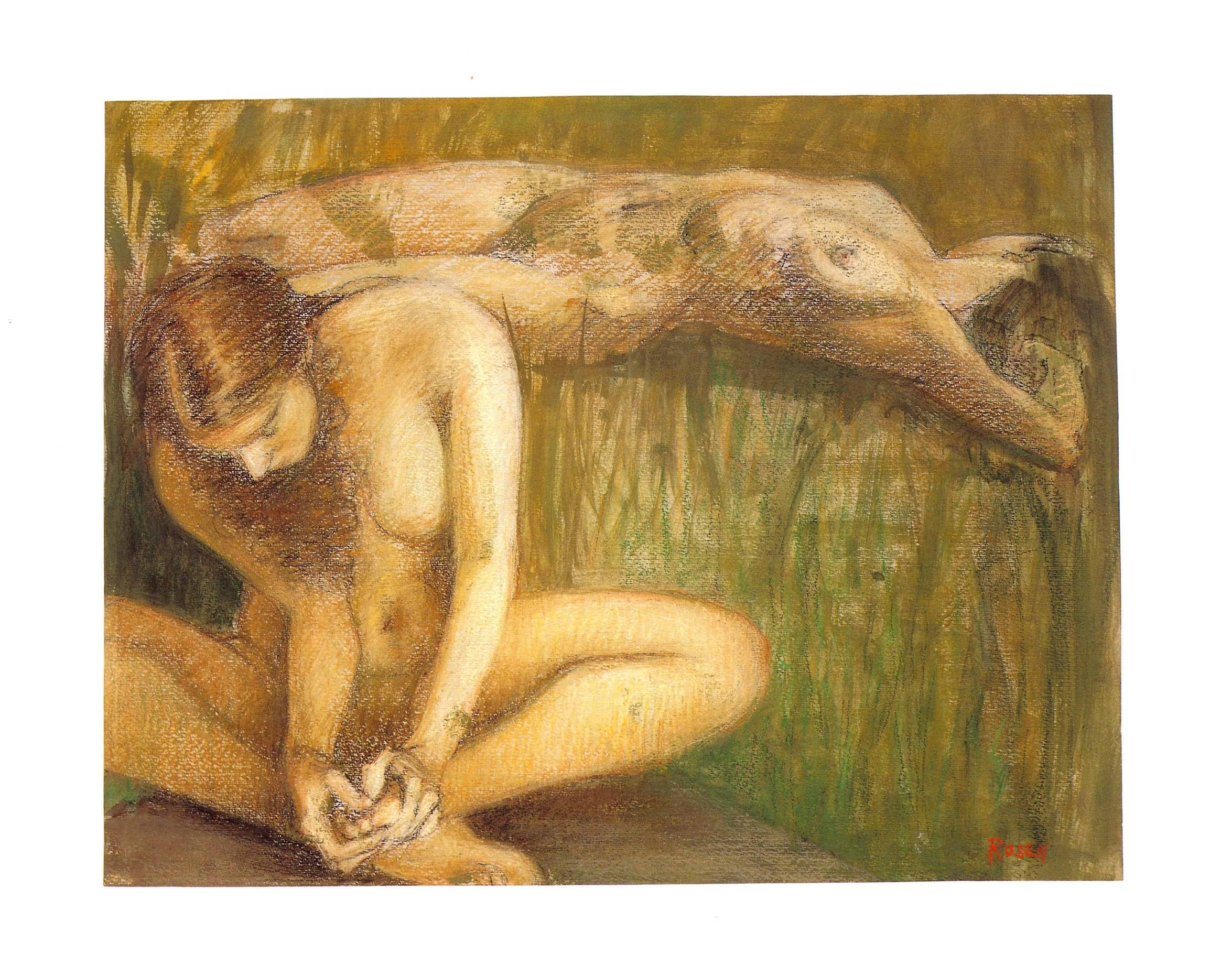 """Two Bathers VI   Pastel and acrylic, 14"""" x 18"""", 2001"""