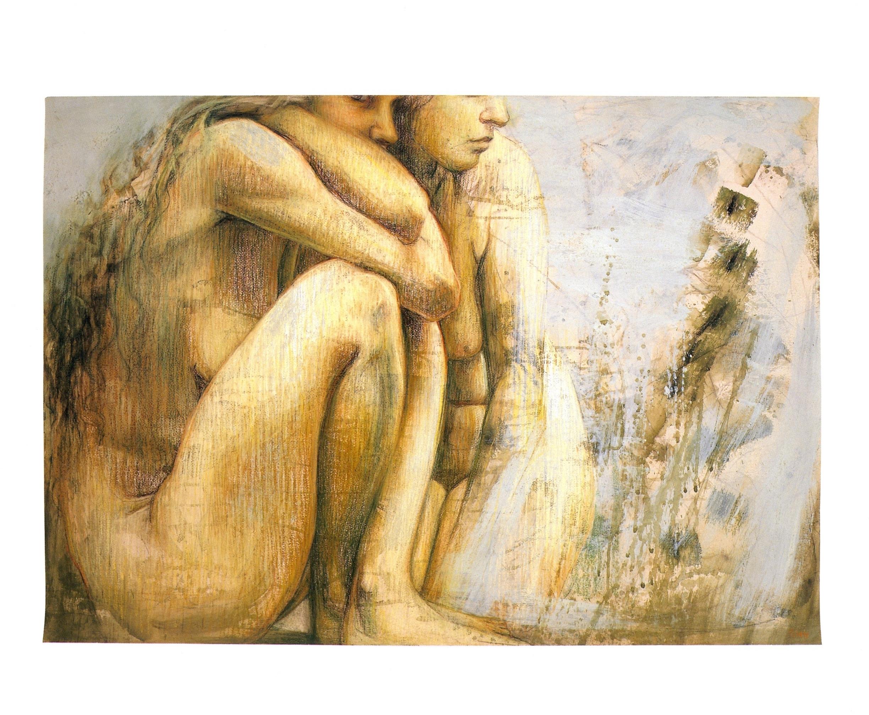 """Huddled Bathers   Pastel and acrylic, 27"""" x 39"""", 2004"""