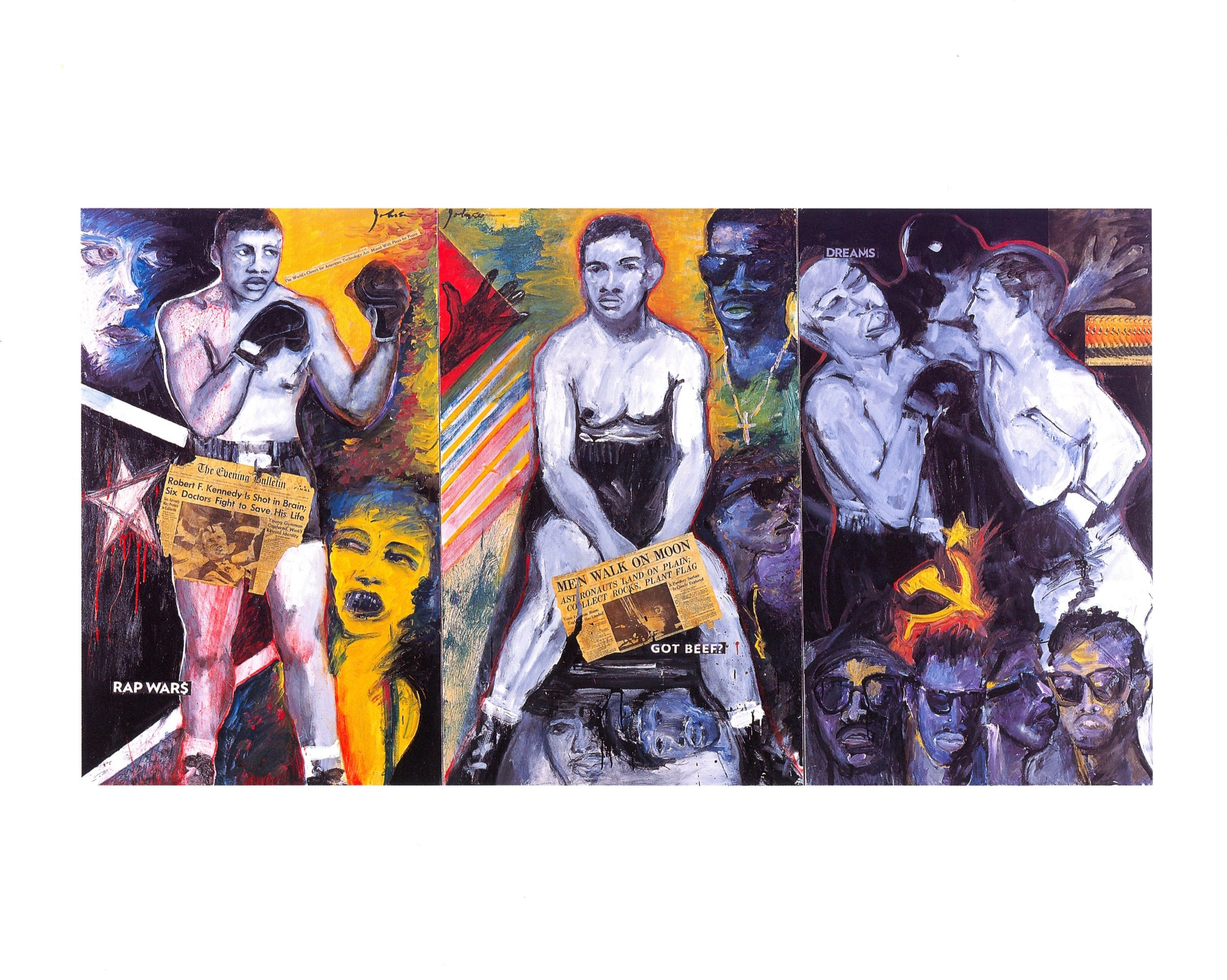 From Left:   1968, Moon Men, Dreams   Acrylic, newspaper on canvas, 2003, 60'' x 36'' each