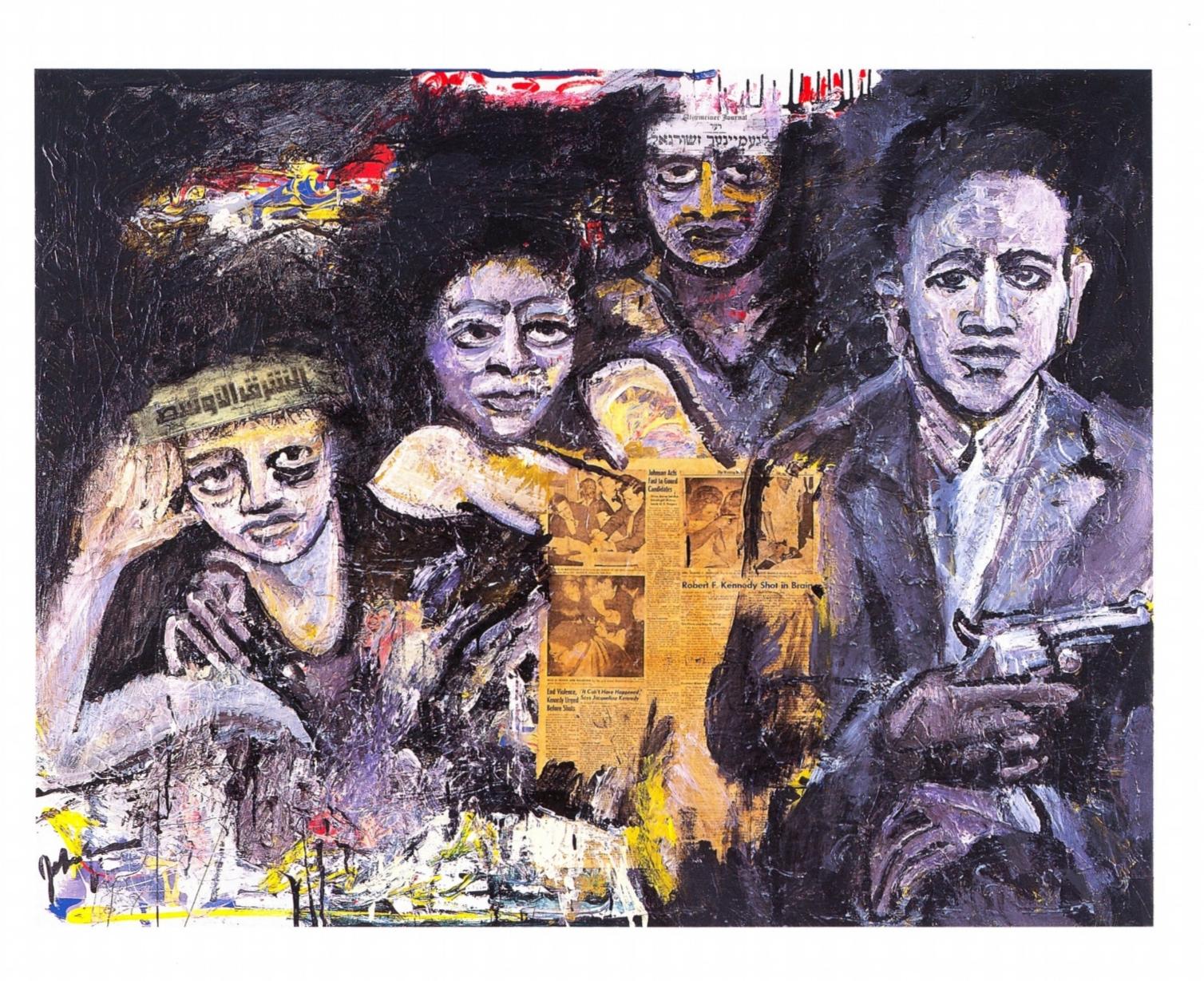 Little Gaza   Acrylic, newspaper on canvas, 48'' x 60'', 2004
