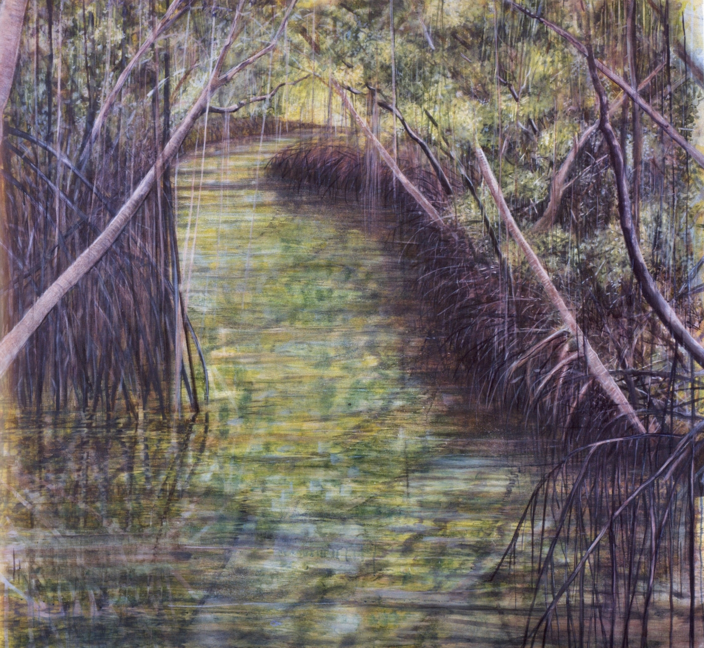 Everglades Yellow   Oil on canvas, 51'' x 54'', 2002