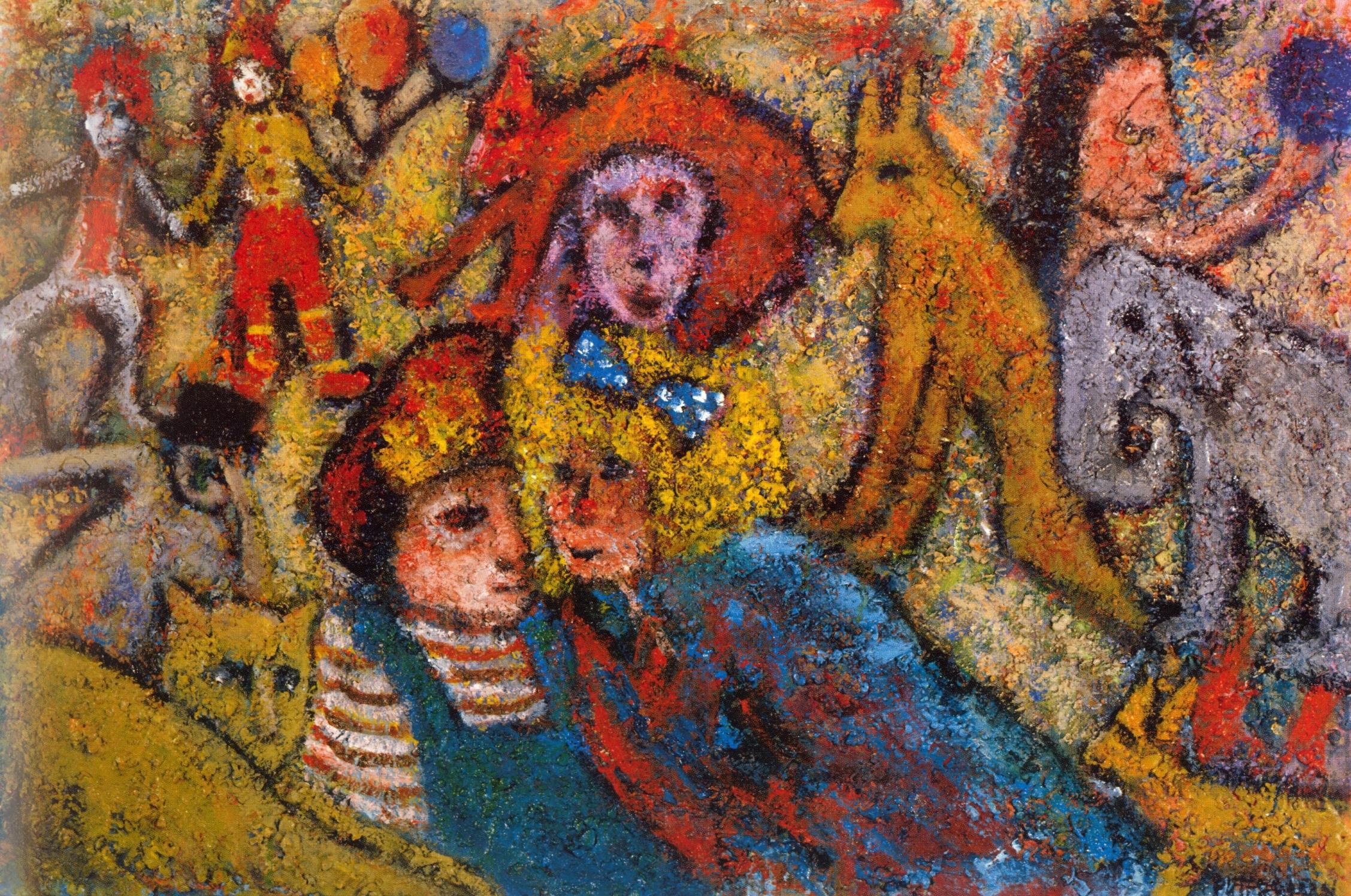 Circus Spirits   Acrylic, sand on canvas, 24'' x 36'', 2004