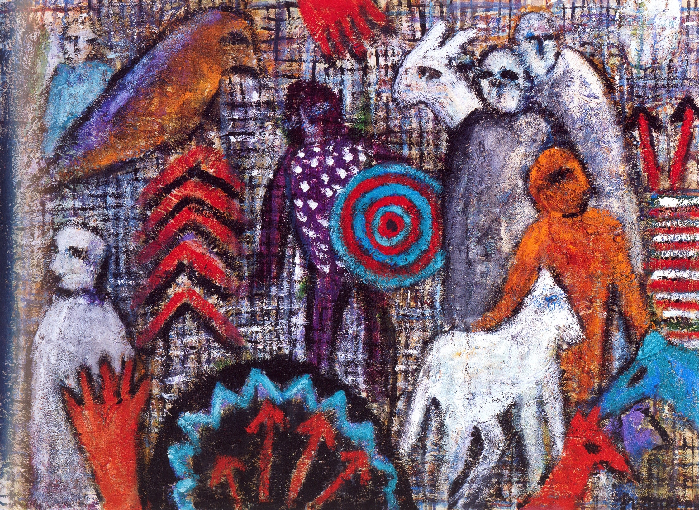 Numinous Legends XII   Acrylic, sand on canvas, 28'' x 38'', 2004