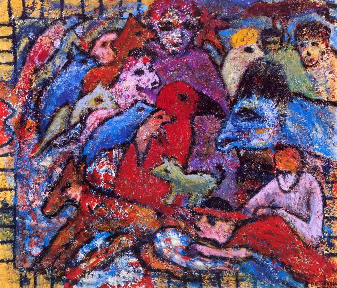 Salient Parables I   Acrylic, sand on canvas, 38'' x 44'', 2004