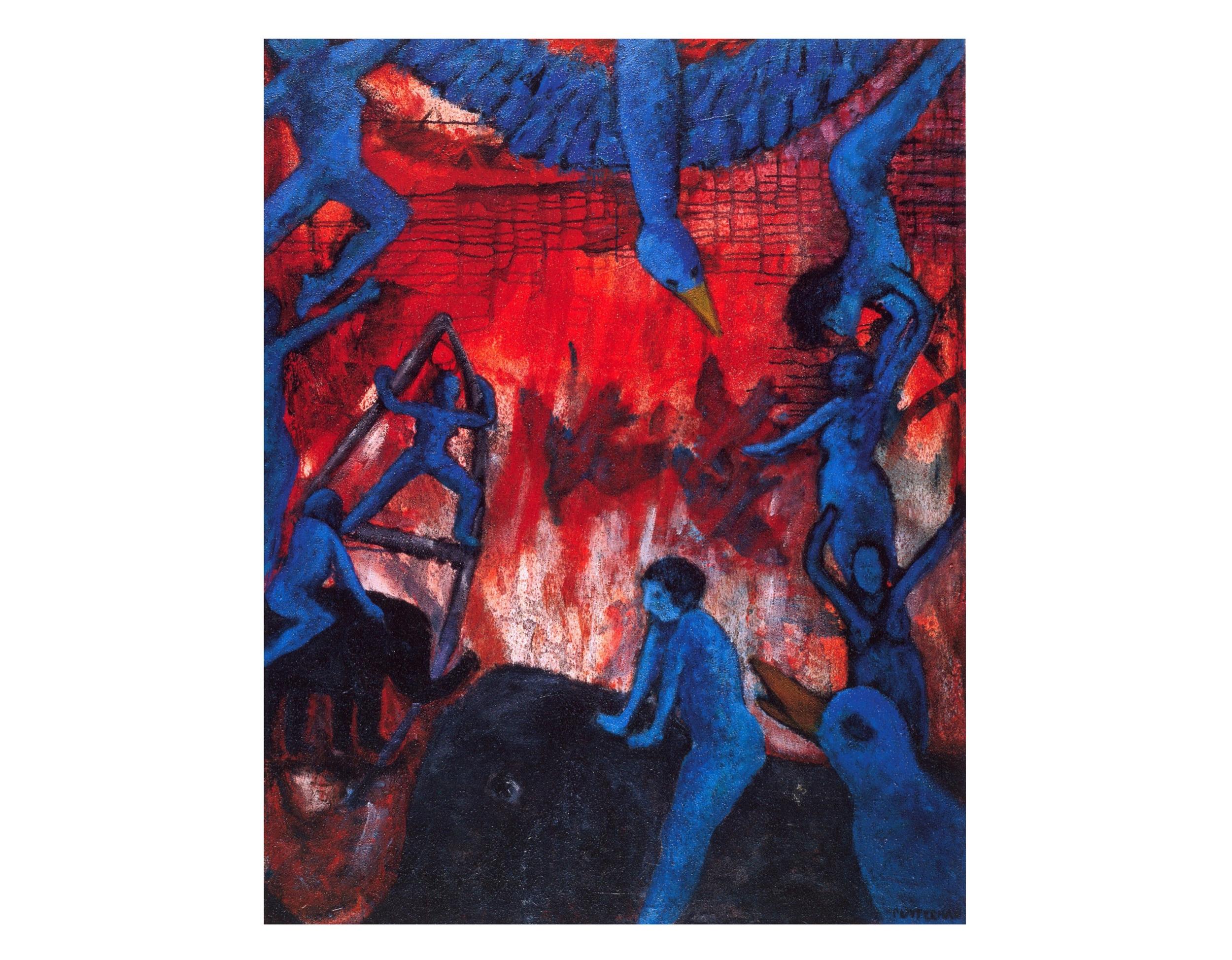 Blue Ladies & Elephants   Acrylic, sand on canvas, 68'' x 72'', 2003
