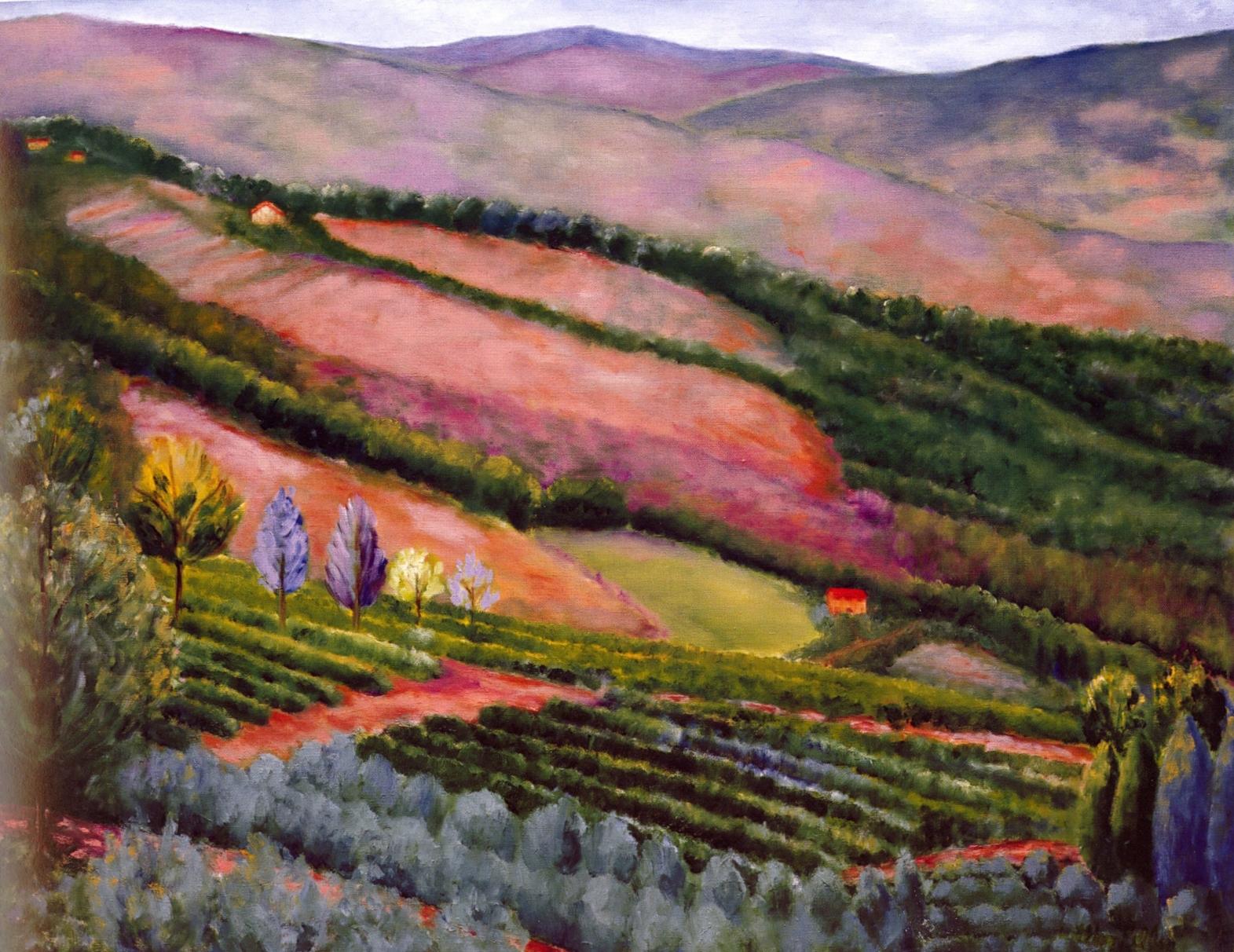 Panzano Valley, Chianti   Oil on canvas, 62'' x 78'', 2004