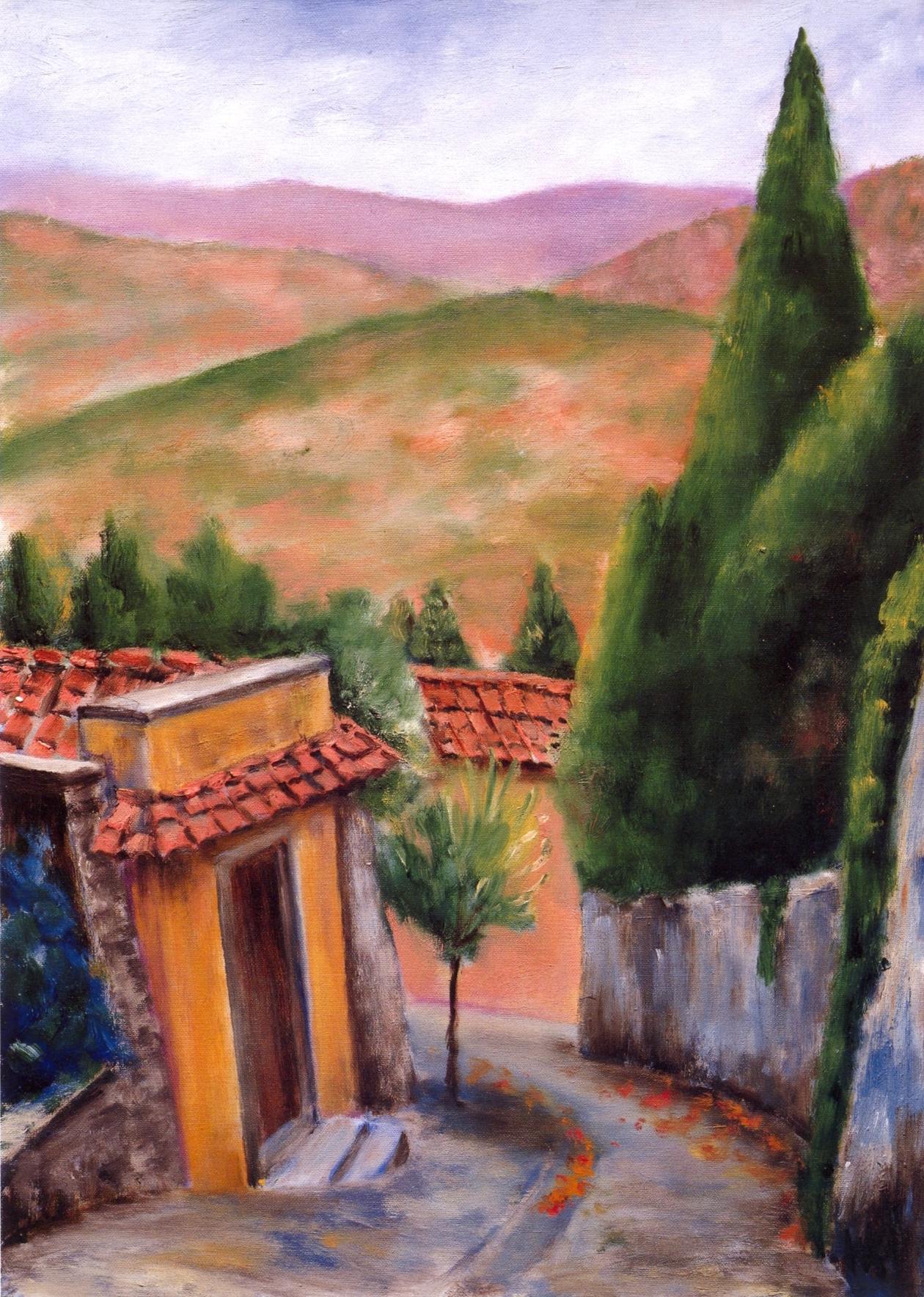 Via de San Francesco, Fiesole   Oil on canvas, 20'' x 28'', 2004