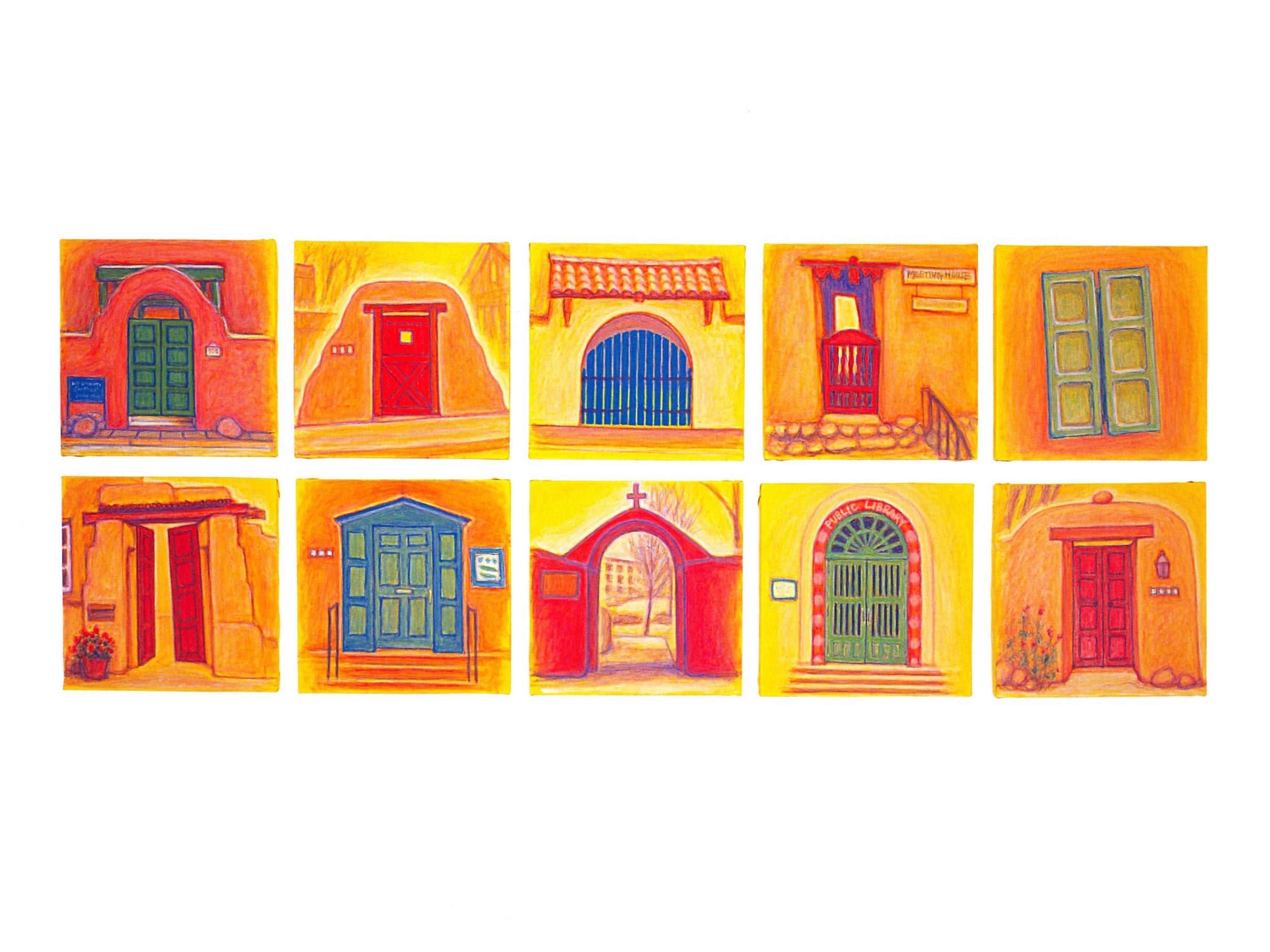 Door and Window, Santa Fe - 1   Oil on canvas, 27 1/2'' x 70 3/4'', 2004