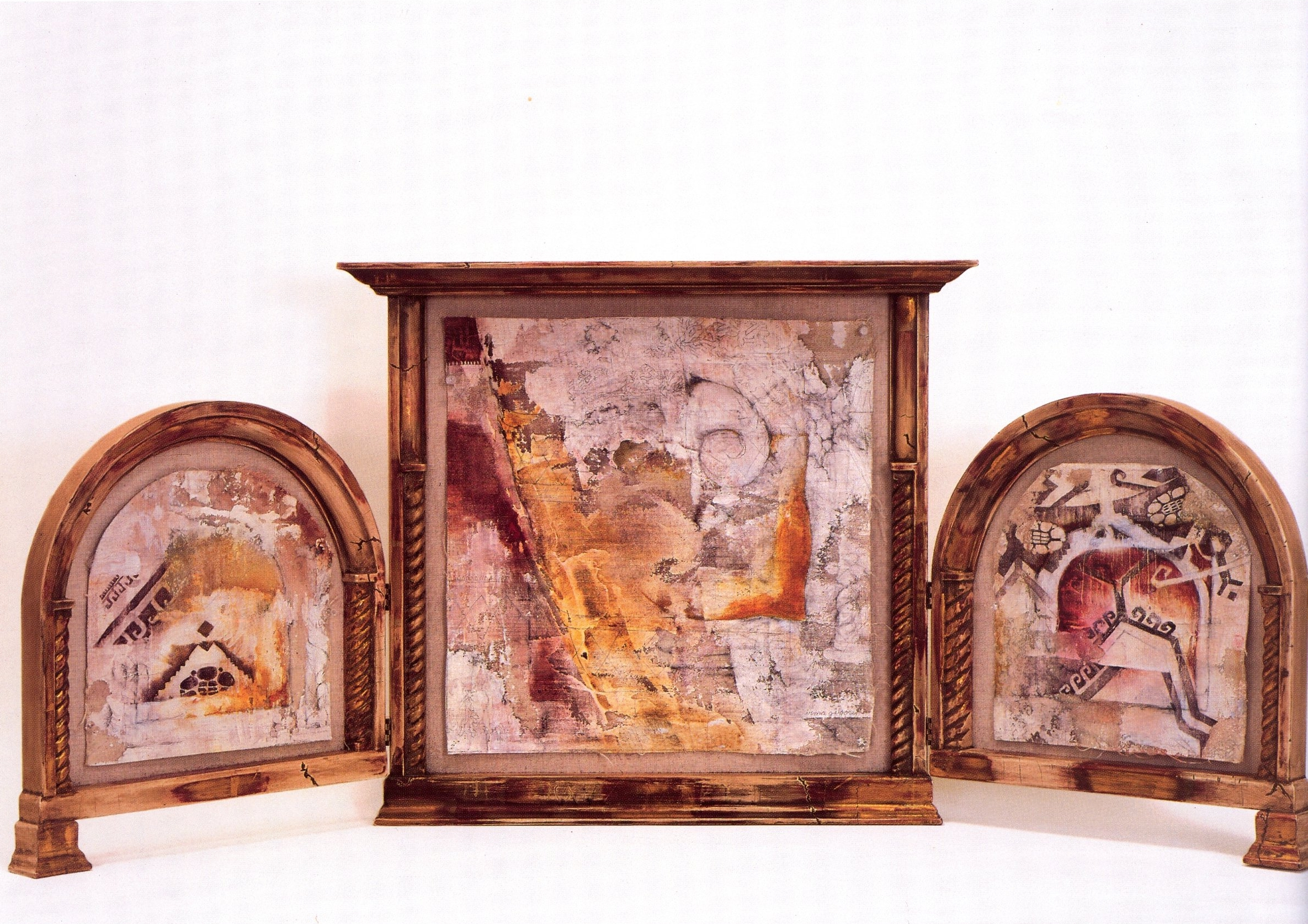 Irma Gilgore   Prayer For Peace (Triptych)  , Acrylic, gesso and graphite on raw canvas, 20 1/2'' x 49 1/2''