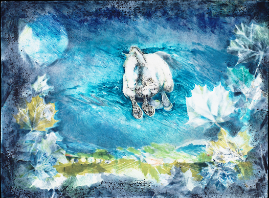"Marian Bingham ,   Summer Night,   2006, Ink on paper, 22"" × 30"".  Equestrian action landscape with blue dominating the landscape color and horse running in mid air as if flying."