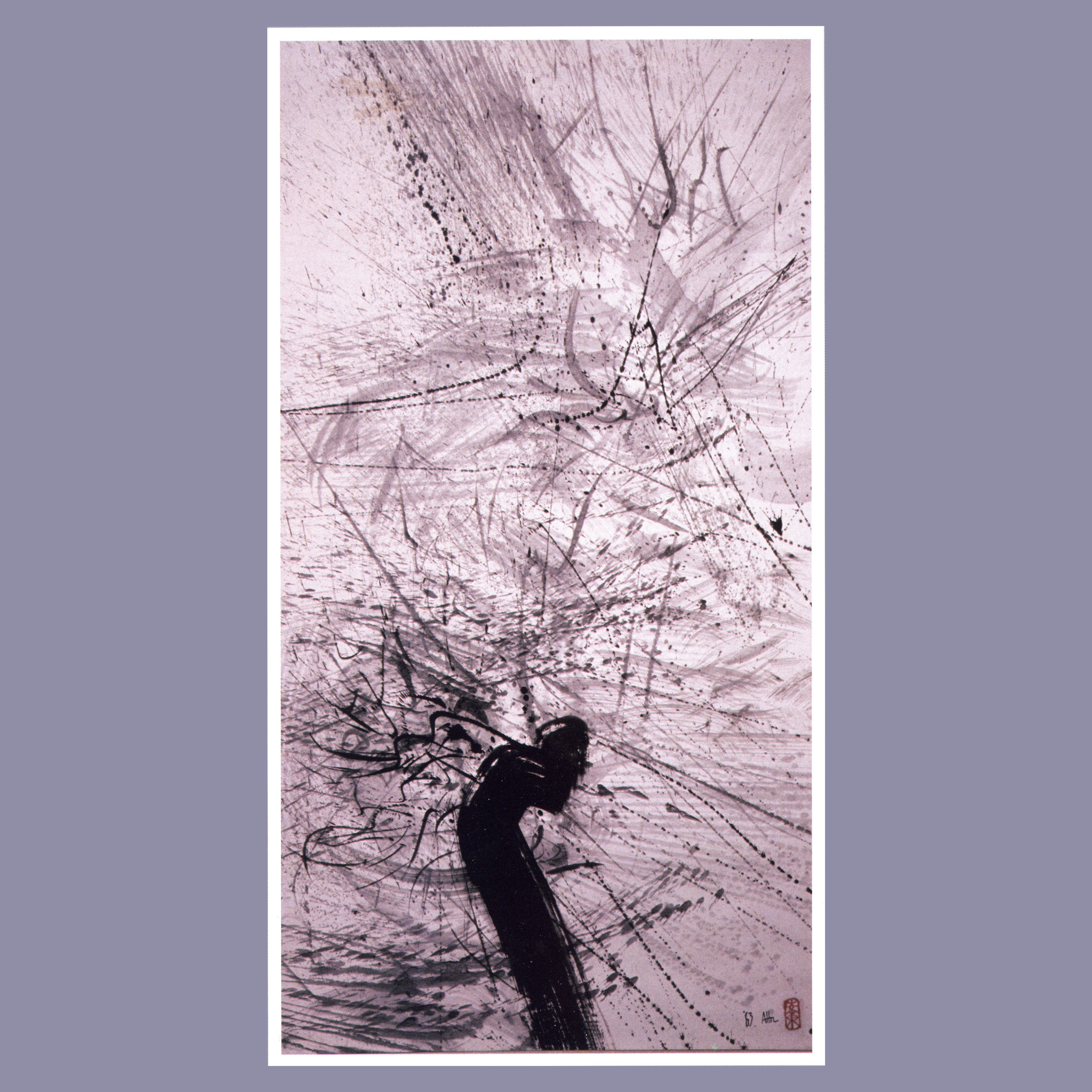 Broken Branch into the Rain   Ink on rice paper, 50'' x 28'', 1963