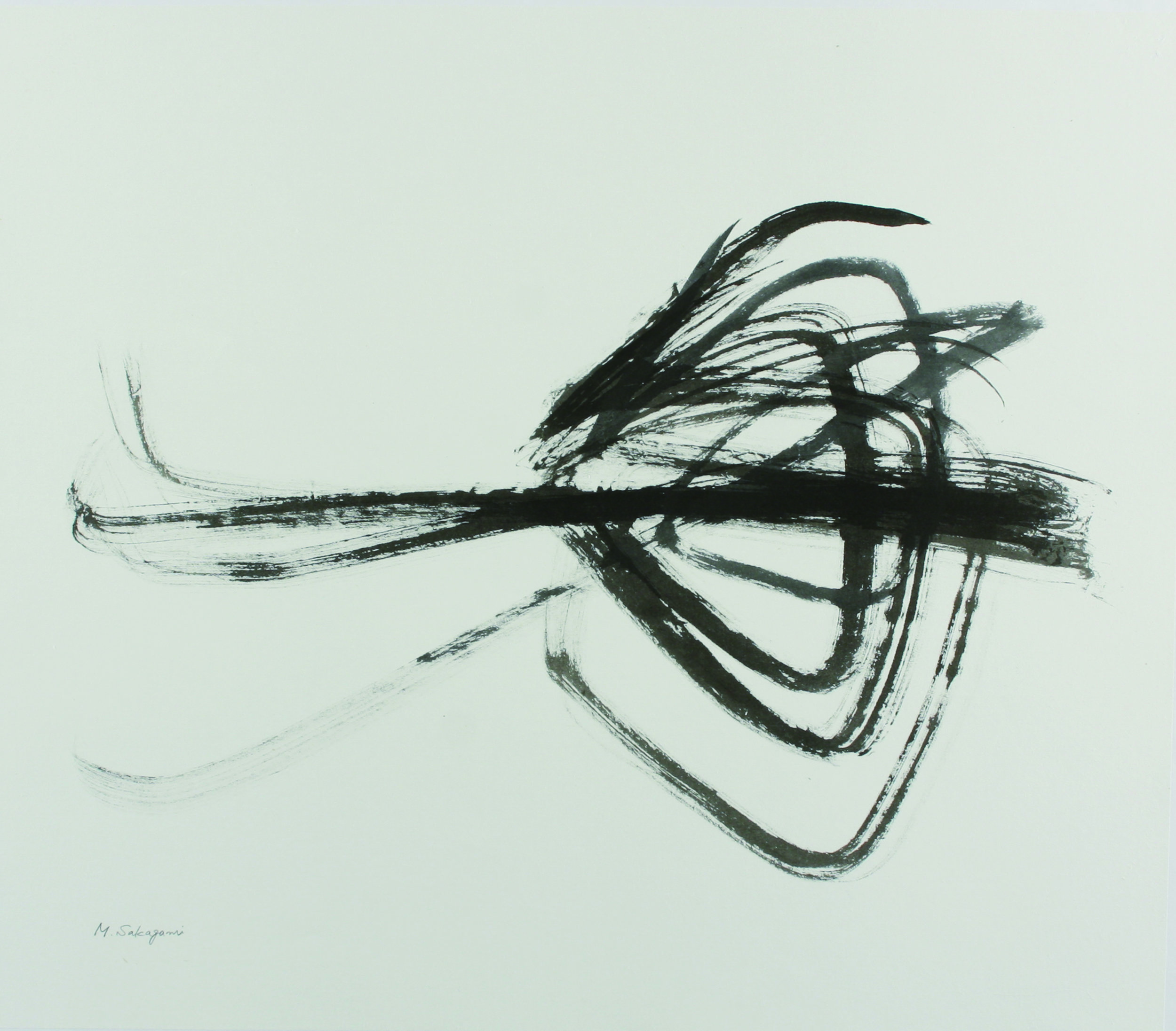 """HIgh Wall ,     2014, Sumi ink on washi paper, 30.75"""" x 35.5"""".  Triangle shaped abstraction against white background"""