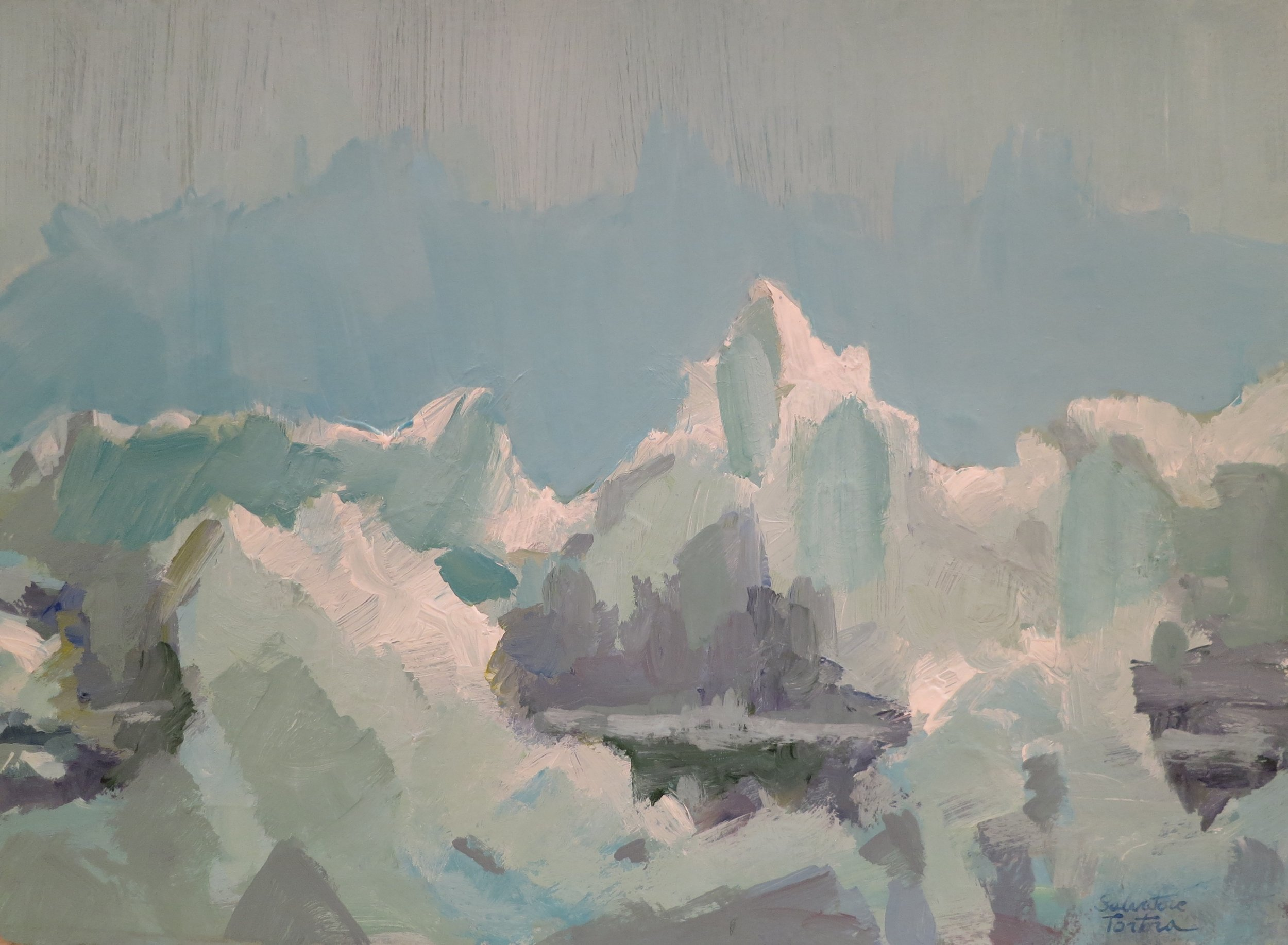 "Artic Impression (Light),      Acrylic, 11.5"" x 15"".  abstarct landscape with mountains in muted blue, green, pink, gray, purple."