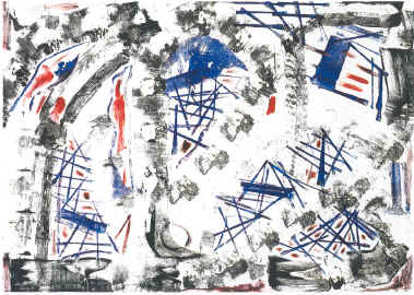 "9/11    Monotype on Paper, 2001, 31"" x 40"" (Sold)"