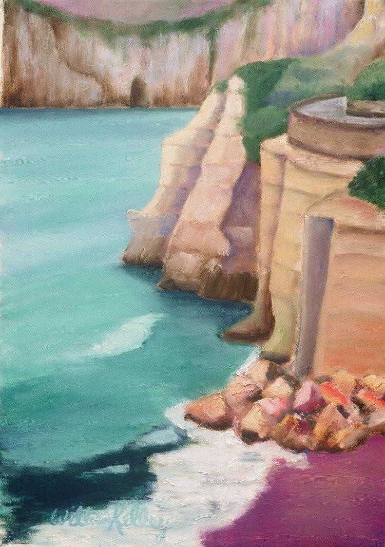 "San Angela, Ischia    20"" x 28"", Oil on Canvas, 2004"