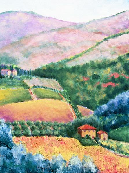 """Villa Vignamaggio, Chianti    28"""" x 36"""", Oil on Canvas, 2004"""