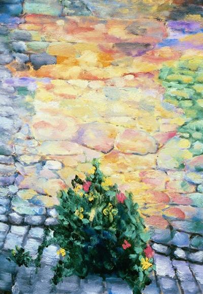 """I Fiori é Muro #1, San Gimignano    20"""" x 28"""", Oil on Canvas, 2004"""