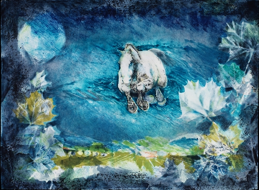 "Summer Night,   2006, Ink on paper, 22"" × 30"".  Equestrian action landscape with blue dominating the landscape color and horse running in mid air as if flying."