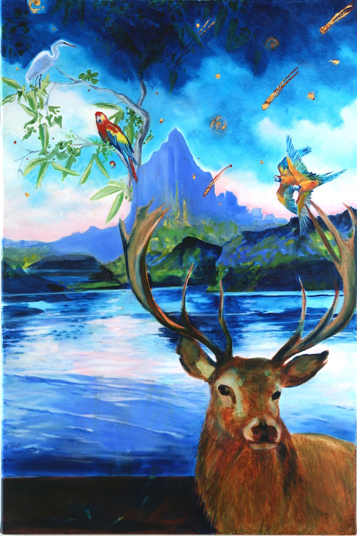 """Eternal Gaze of the Messenger IV   ,   2017, Oil on Canvas, 36"""" x 24"""".  Seascape in Oregon featuring rocks, trees, birds and deer. Blue ocean in the horizon with blue sky"""
