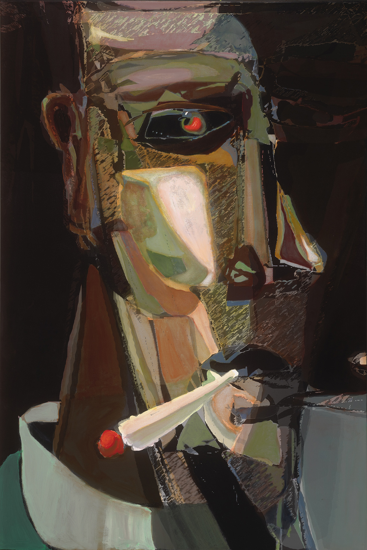 "Edmund Ian Grant ,    Palookaville,   2014, Acrylic on canvas, 60"" x 40"".  Abstract portraiture of a man with triangular shapes on cheeks and nose, smoking a cigarette. Green dominating with tan and red color on black background."