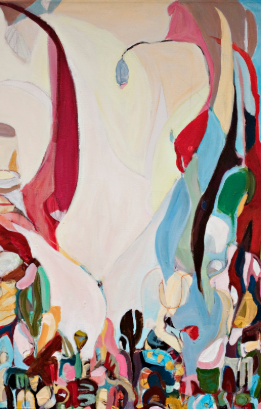 "In the Beginning by Monique Rollins  , 2015, Acrylic on Canvas and Paper Collage, 34"" x 50"""